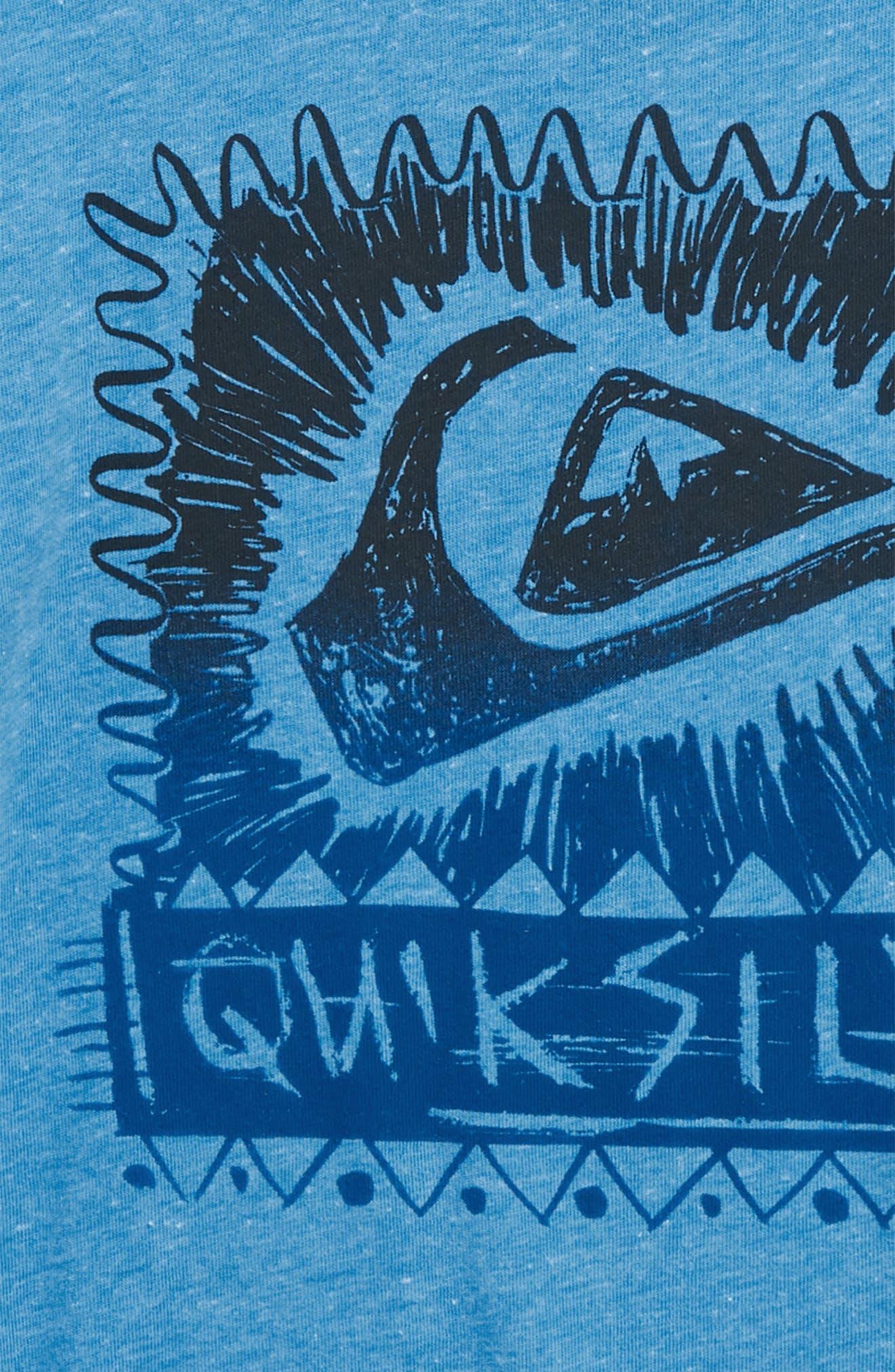 Quicksilver Laser Cut Graphic T-Shirt,                             Alternate thumbnail 2, color,                             Malibu Heather