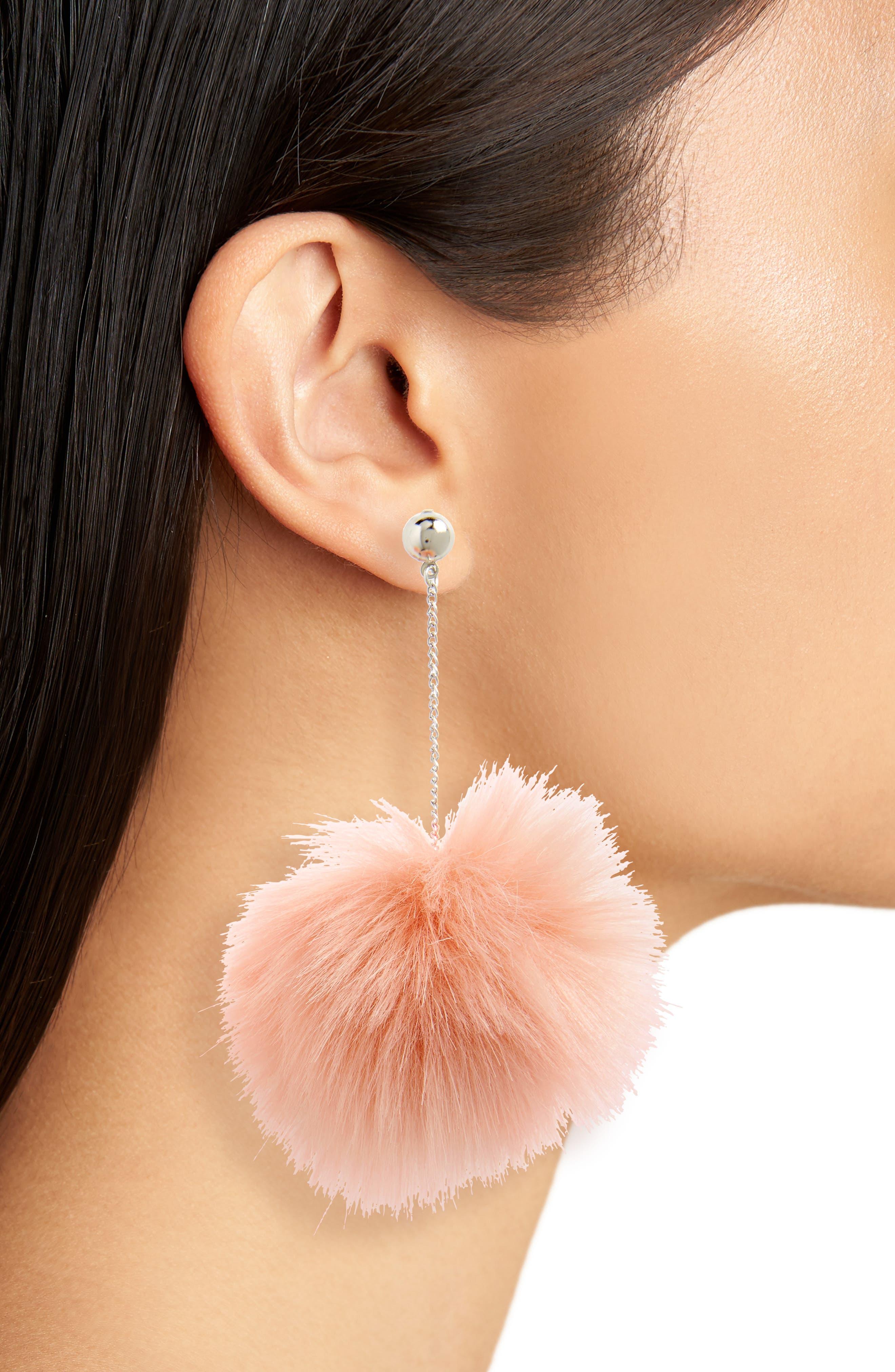 Lilac Faux Fur Drop Earrings,                             Alternate thumbnail 2, color,                             Blush