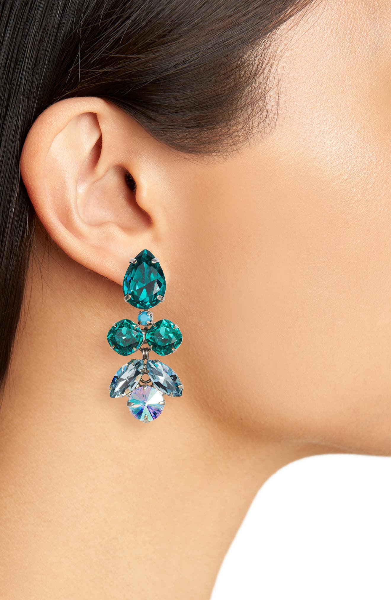 Lotus Flower Crystal Drop Earrings,                             Alternate thumbnail 2, color,                             Blue-Green