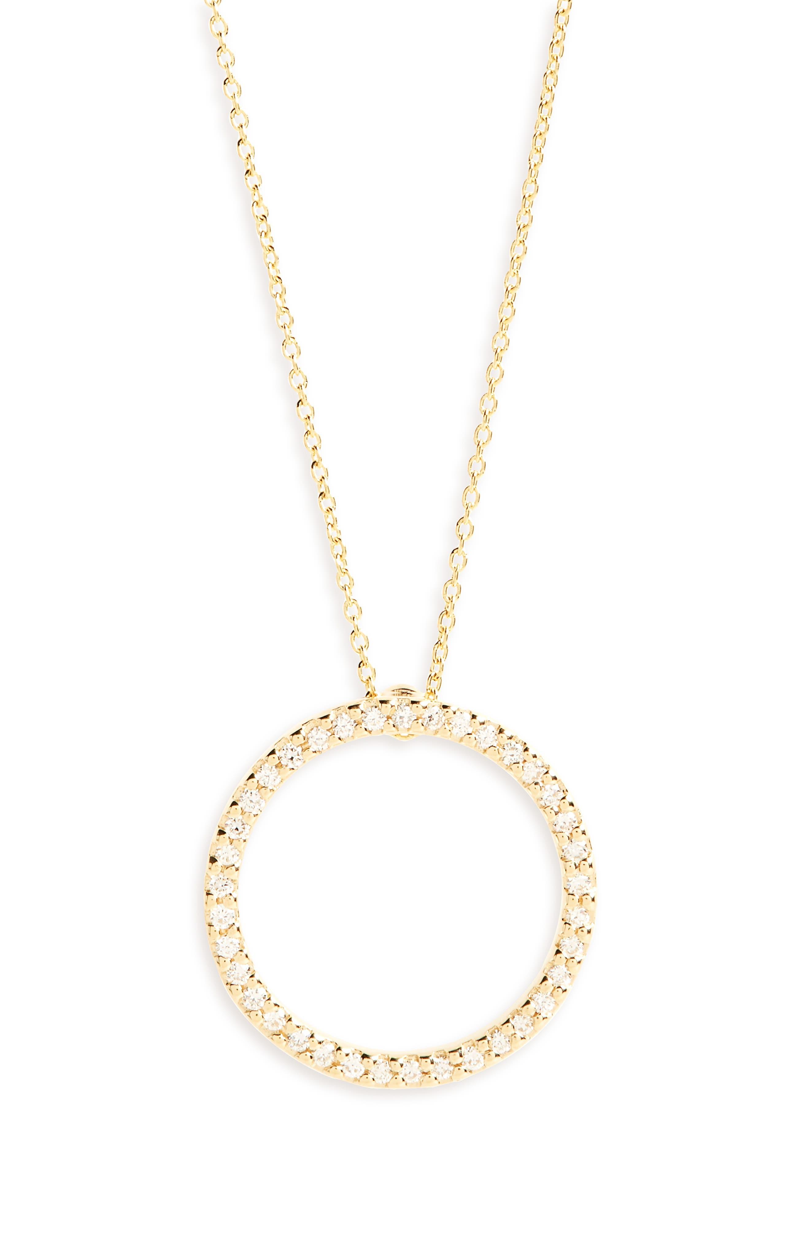 Diamond Circle Necklace,                             Main thumbnail 1, color,                             Yellow Gold