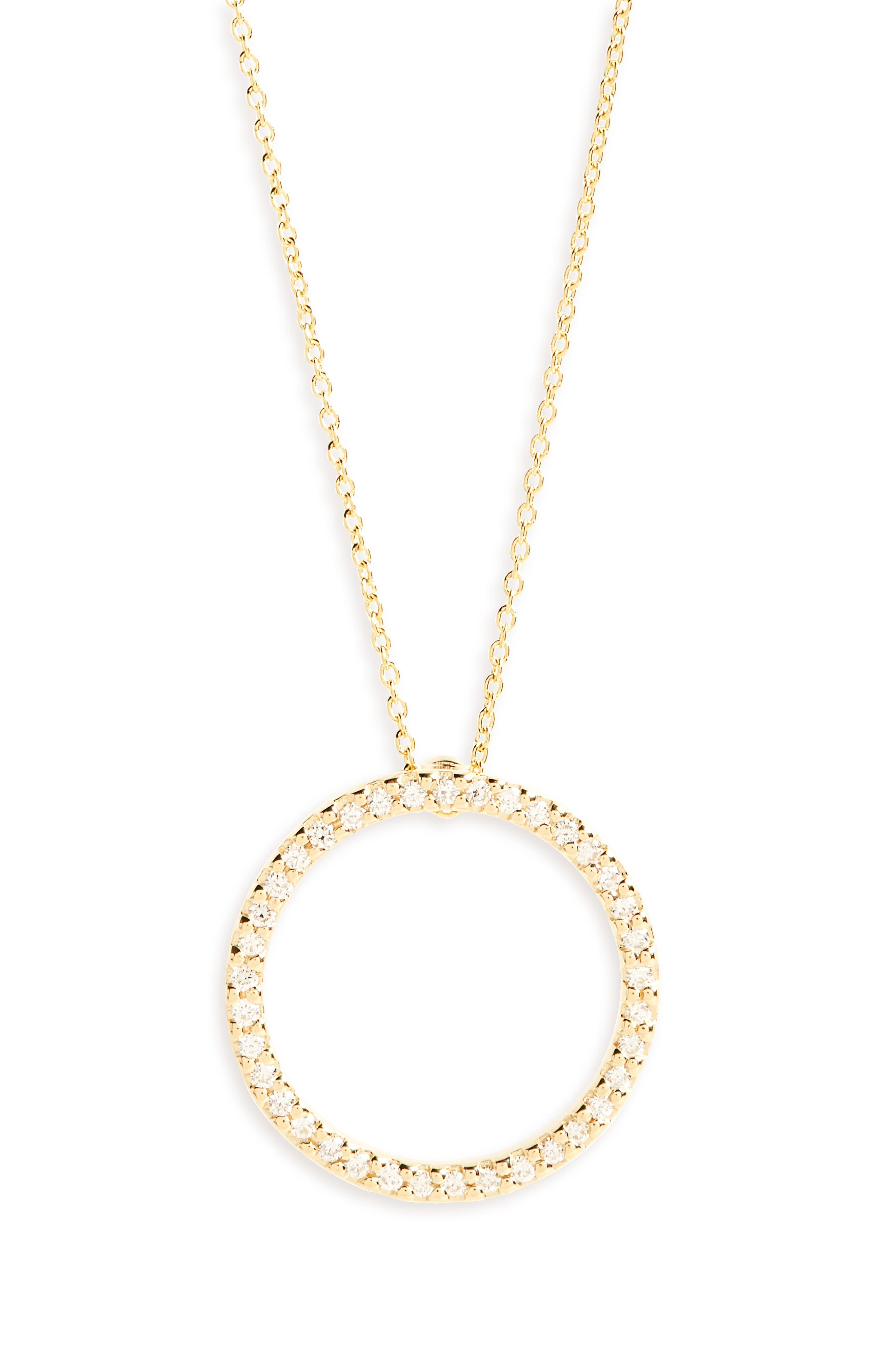 Diamond Circle Necklace,                         Main,                         color, Yellow Gold