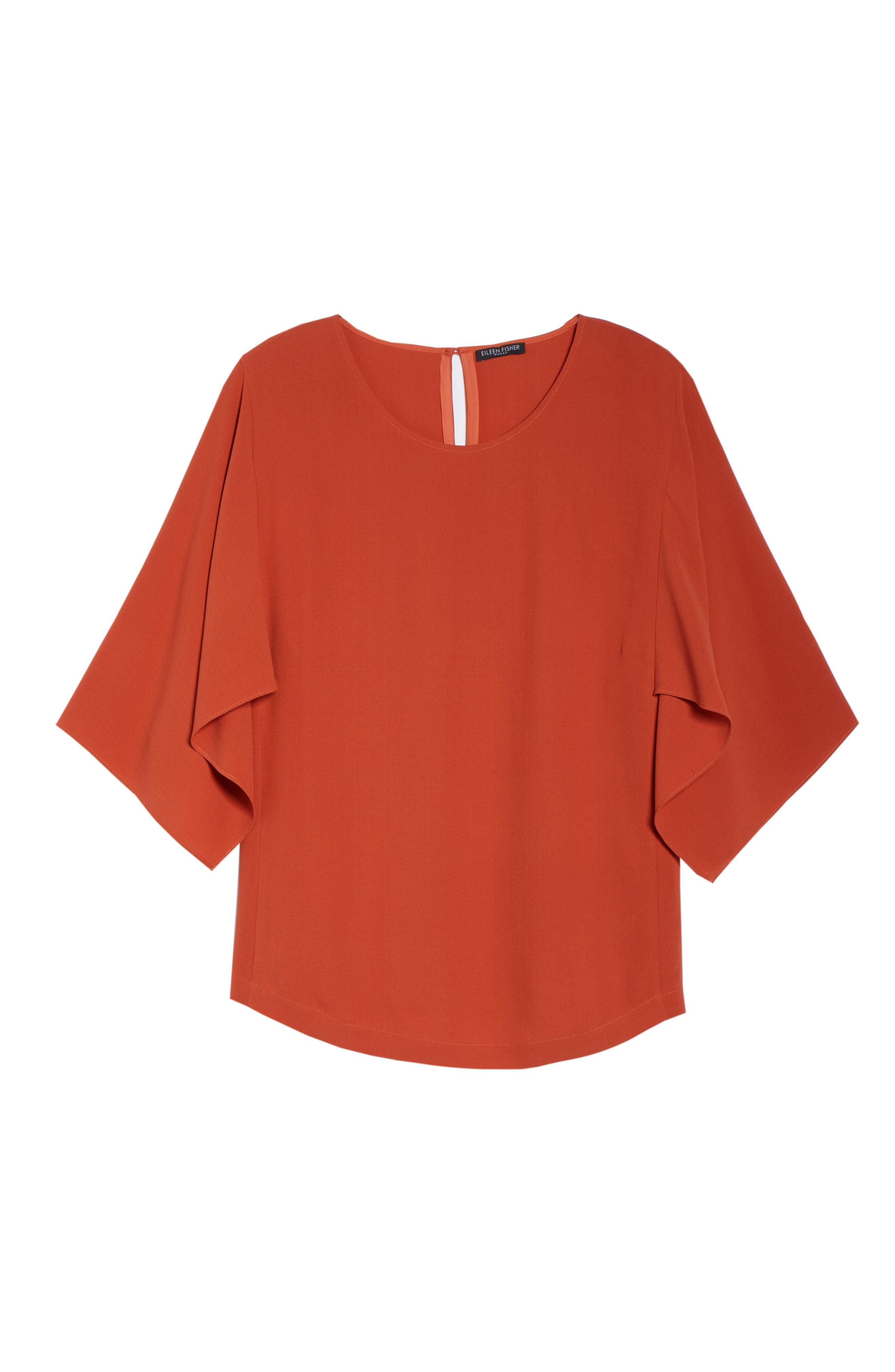 Slit Sleeve Silk Top,                             Alternate thumbnail 6, color,                             Orange Pekoe