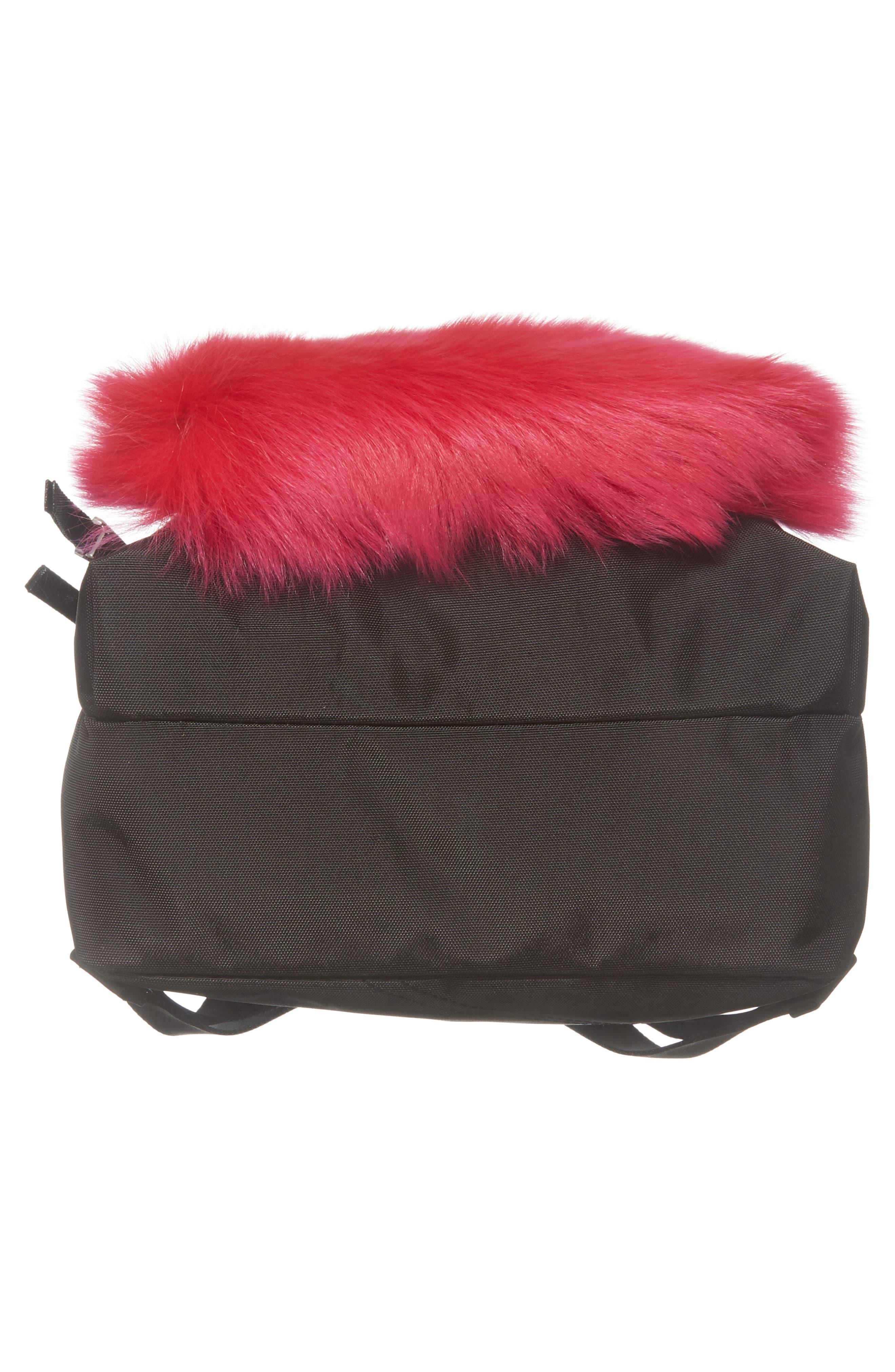 Love Medium Trek Nylon & Genuine Shearling Backpack,                             Alternate thumbnail 6, color,                             Black Multi