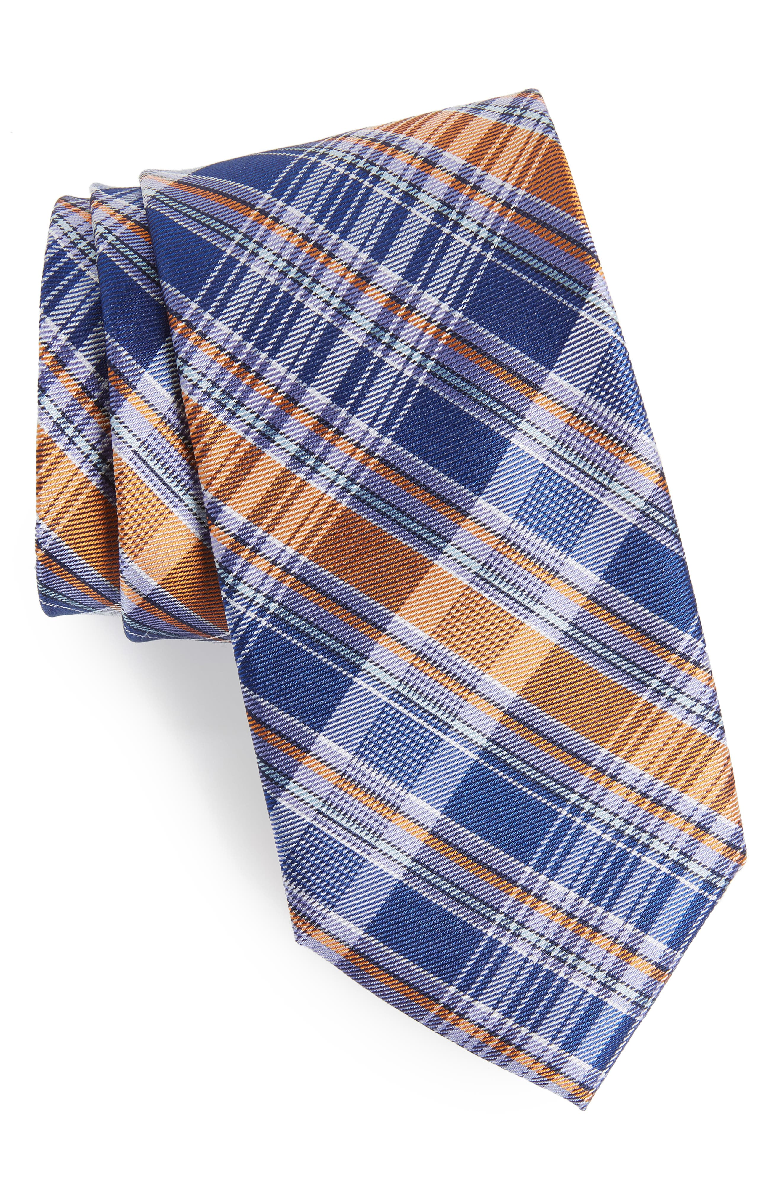 Sassafrass Plaid Silk Tie,                         Main,                         color, Bright Fashion Blue