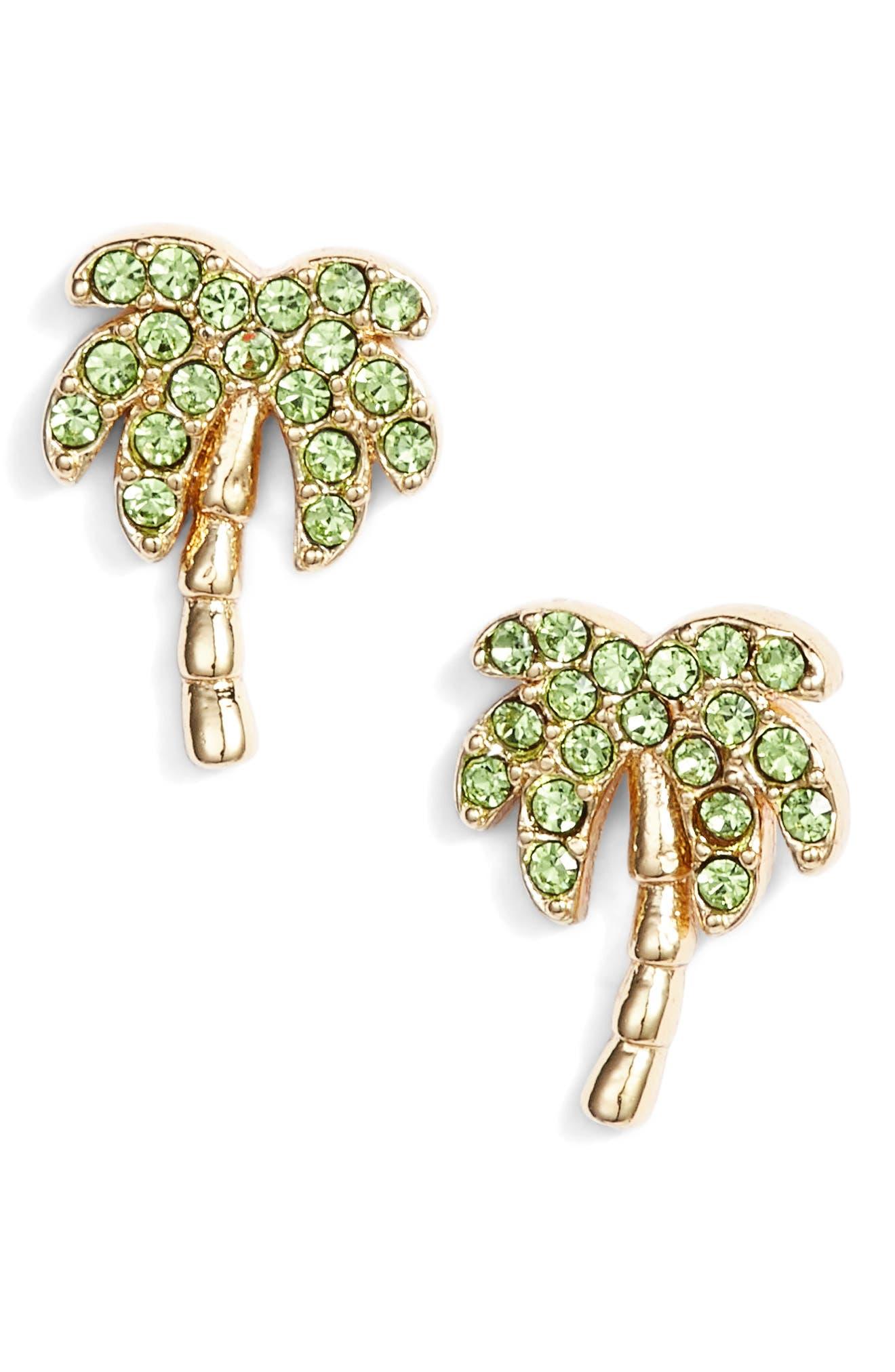 california dreaming pavé palm stud earrings,                             Main thumbnail 1, color,                             Multi