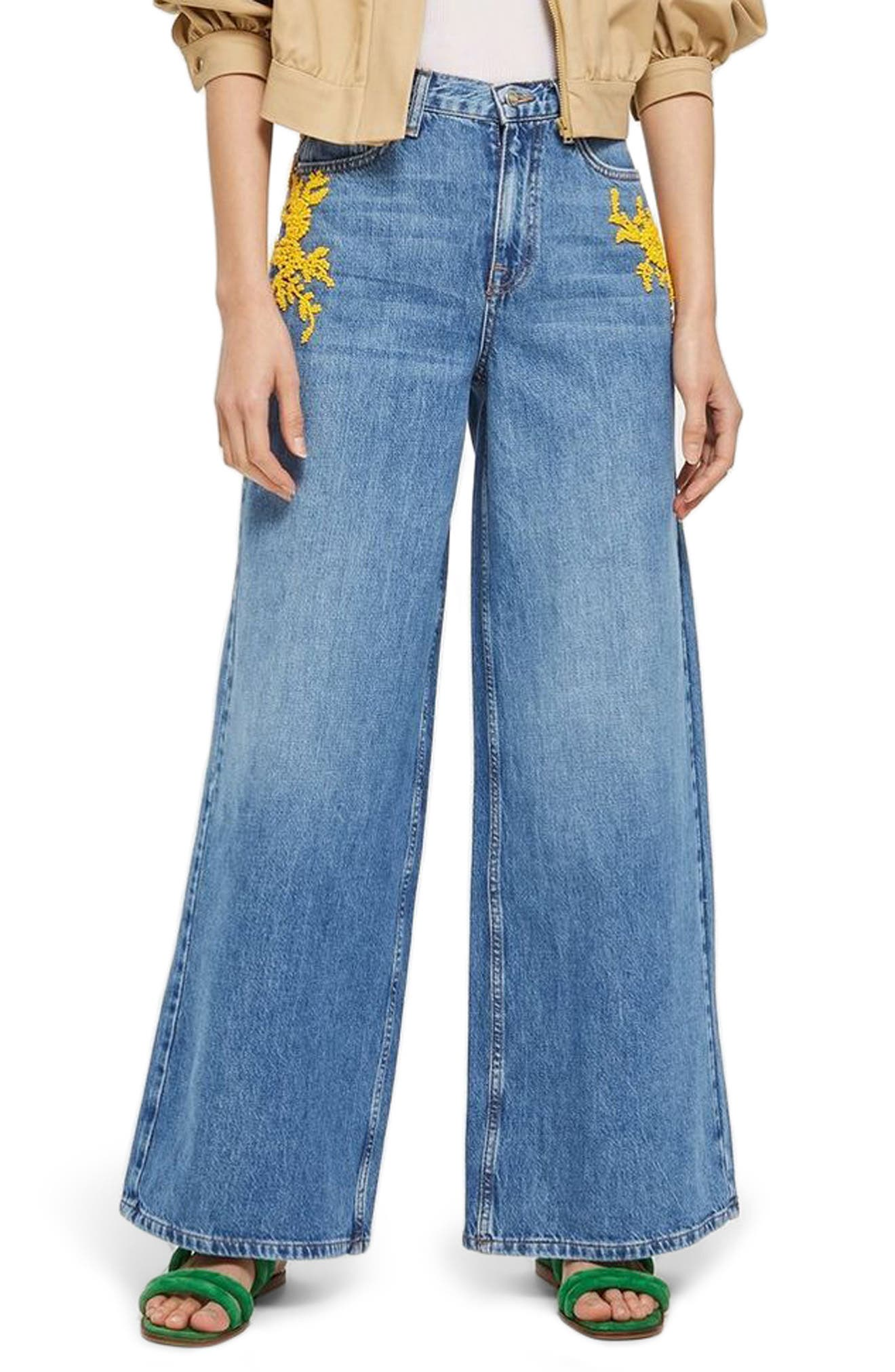 MOTO Bead Detail Wide Leg Non-Stretch Jeans,                         Main,                         color, Mid Denim