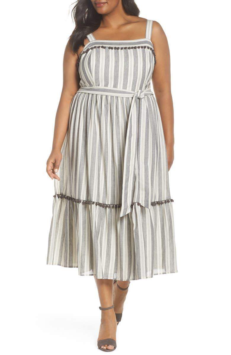 Painted Stripe Ruffle Hem Midi Dress