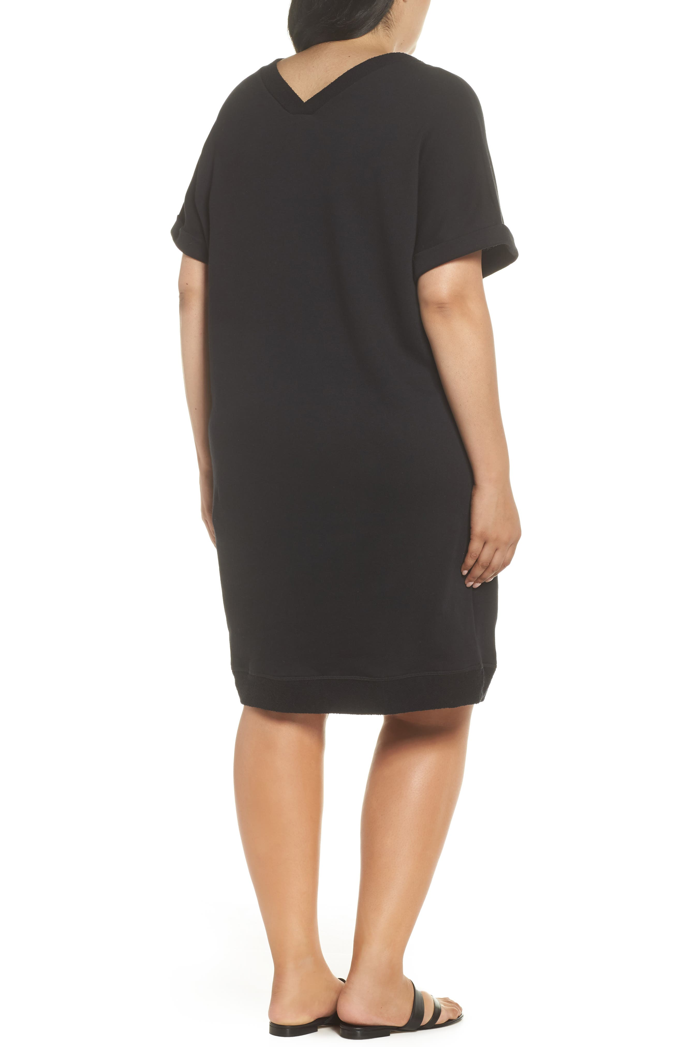 Off-Duty French Terry Dress,                             Alternate thumbnail 2, color,                             Black