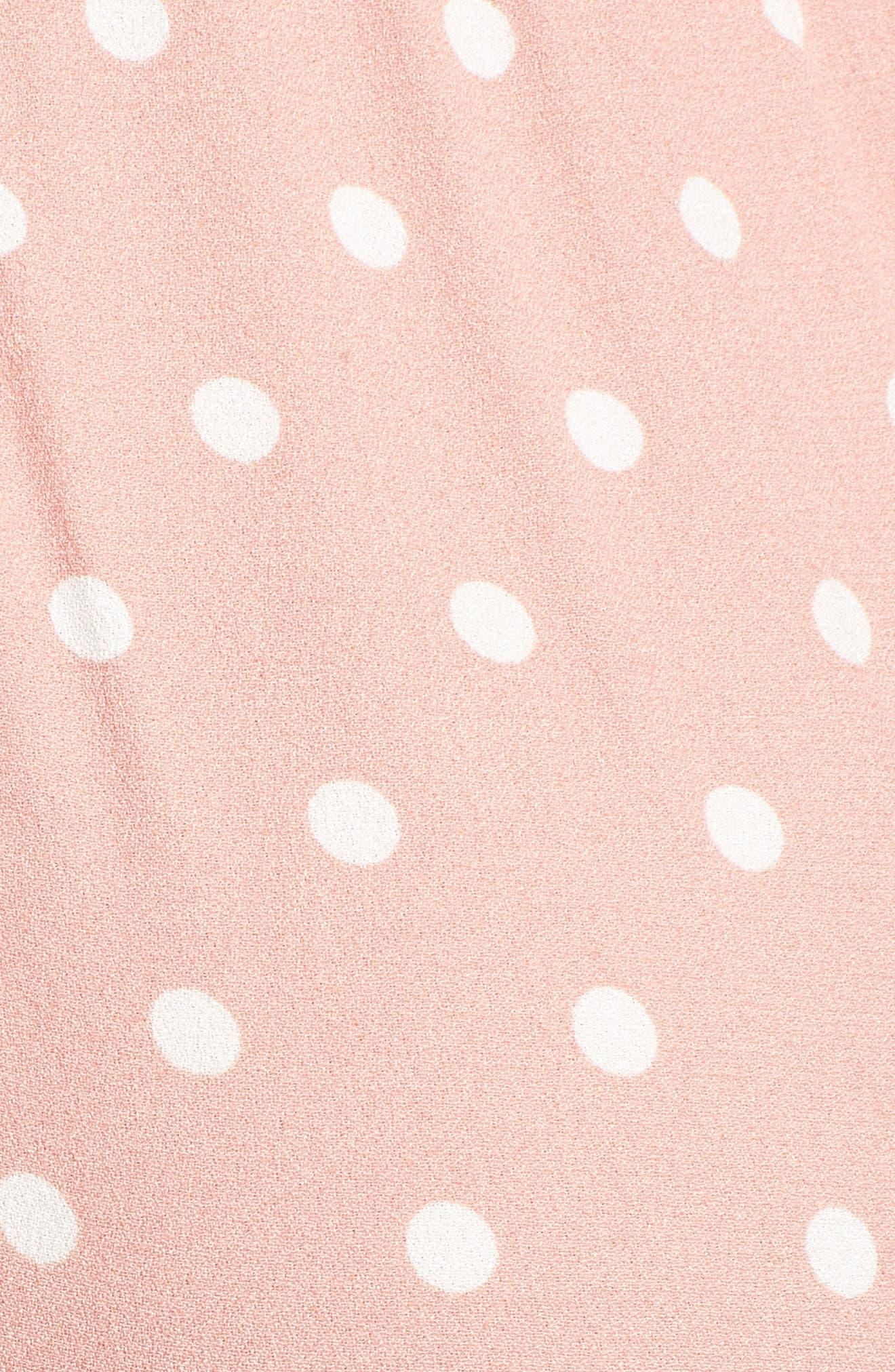Milan Tie Front Jumpsuit,                             Alternate thumbnail 6, color,                             Misty Rose Polka Dot