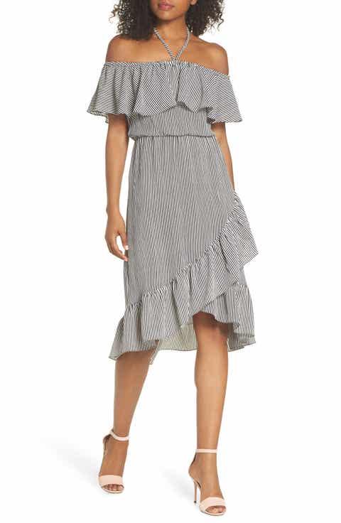 Charles Henry Halter Neck Popover Dress