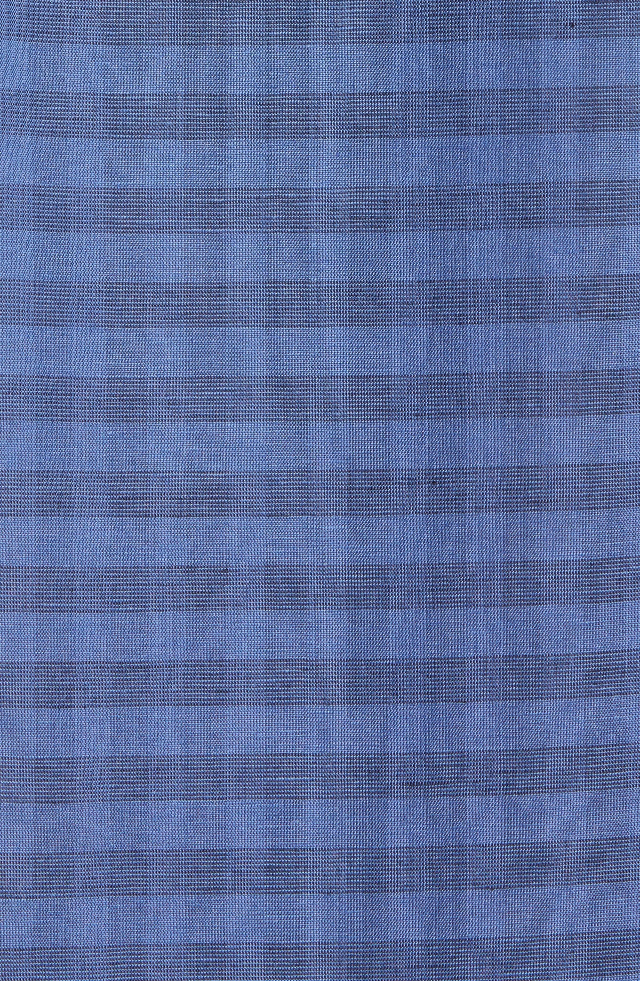 Slim Fit Check Cotton & Linen Sport Shirt,                             Alternate thumbnail 5, color,                             Marino
