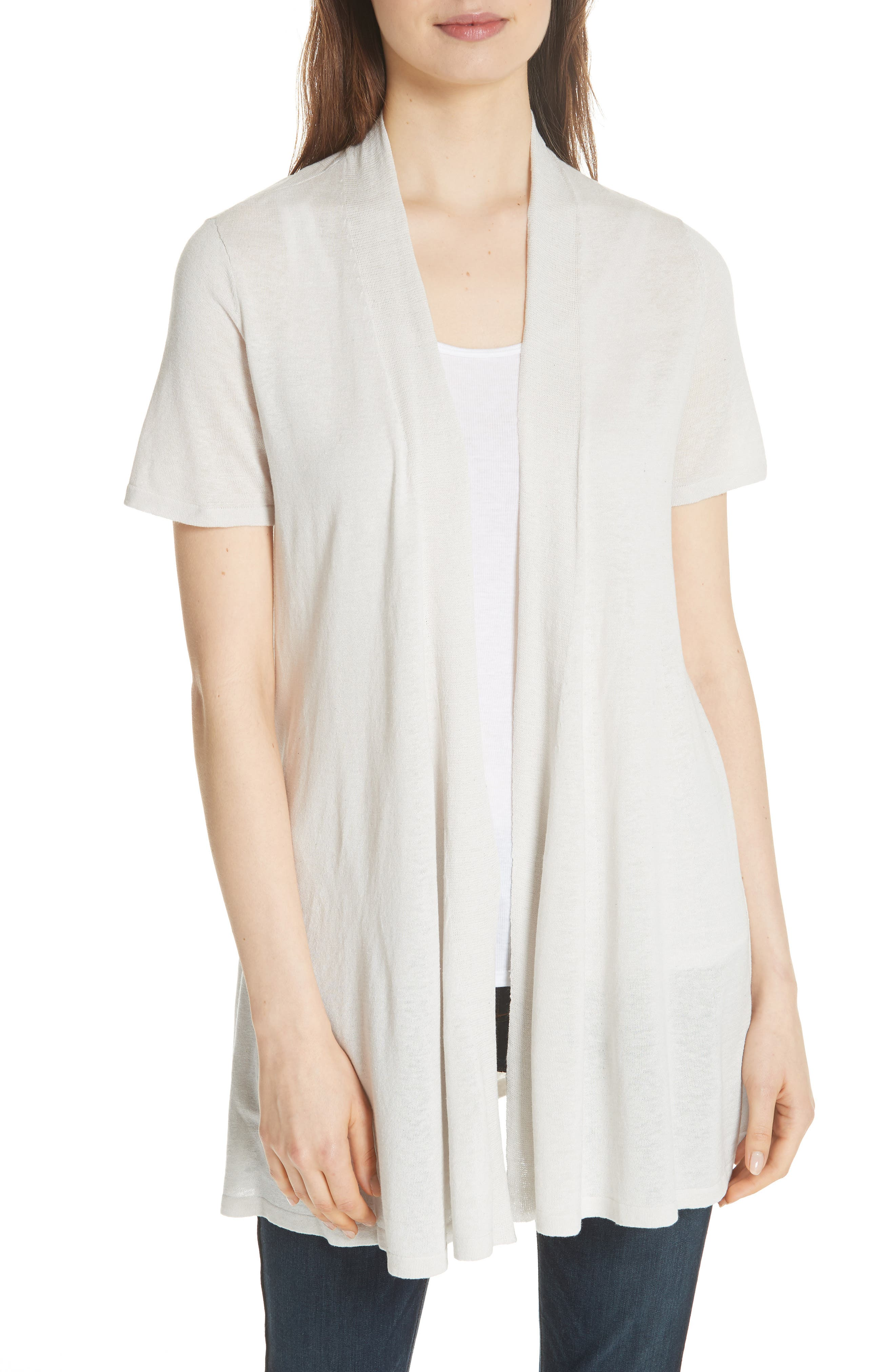 Short Sleeve Silk & Organic Linen Cardigan,                             Main thumbnail 1, color,                             Bone