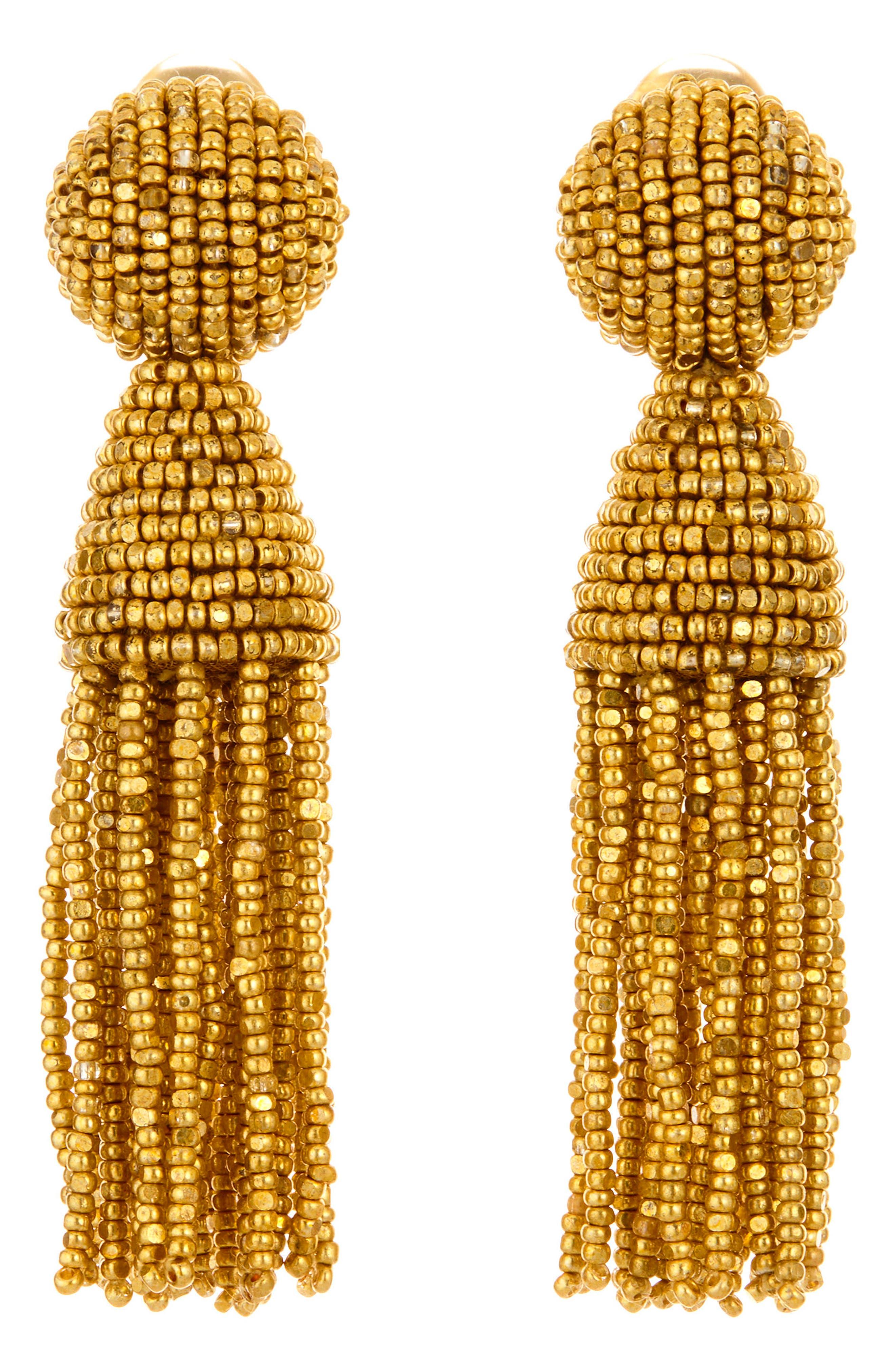 'Classic Short' Tassel Drop Clip Earrings,                             Main thumbnail 1, color,                             Gold
