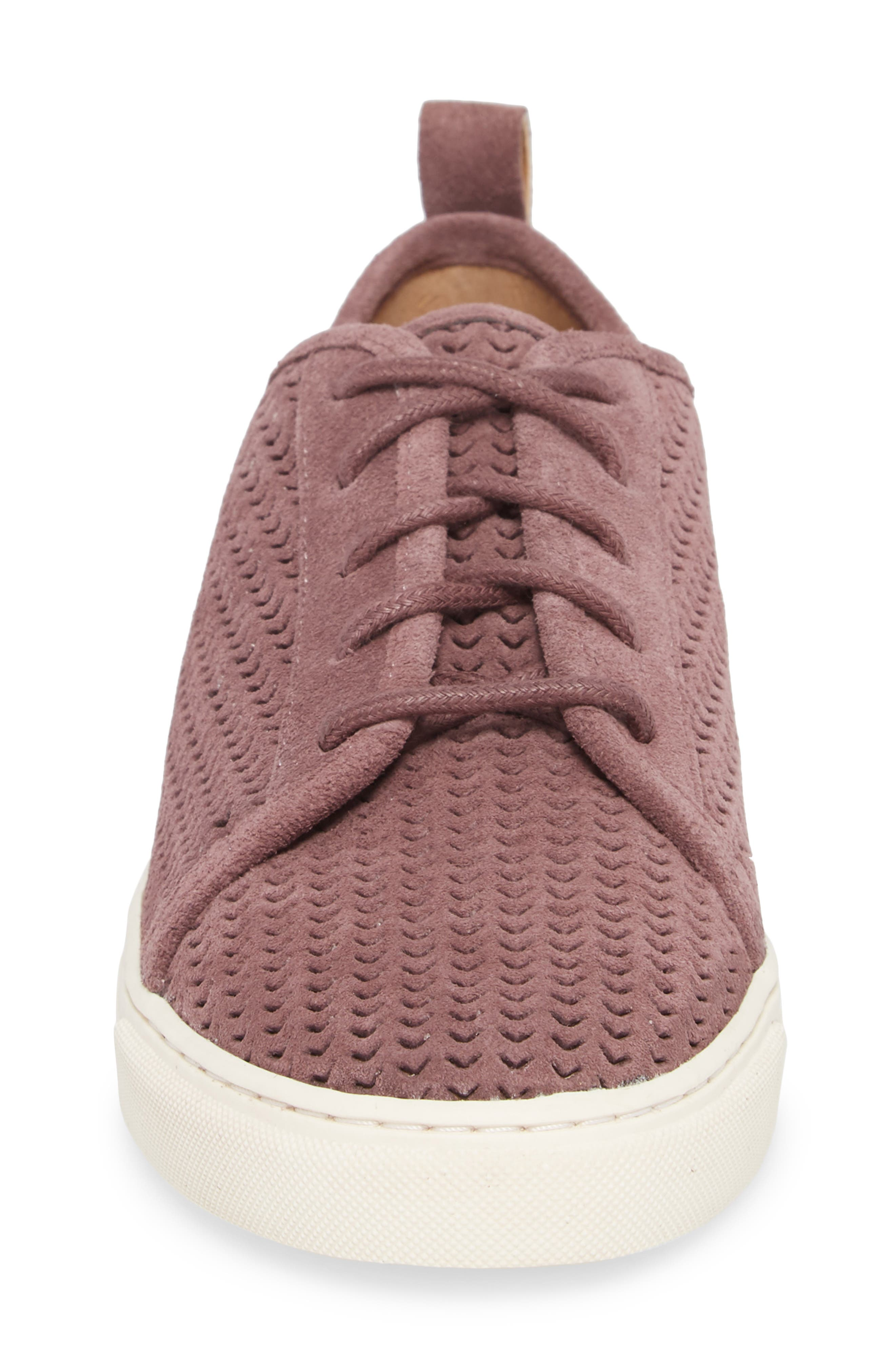 Lawove Sneaker,                             Alternate thumbnail 4, color,                             Berry Smooth Suede