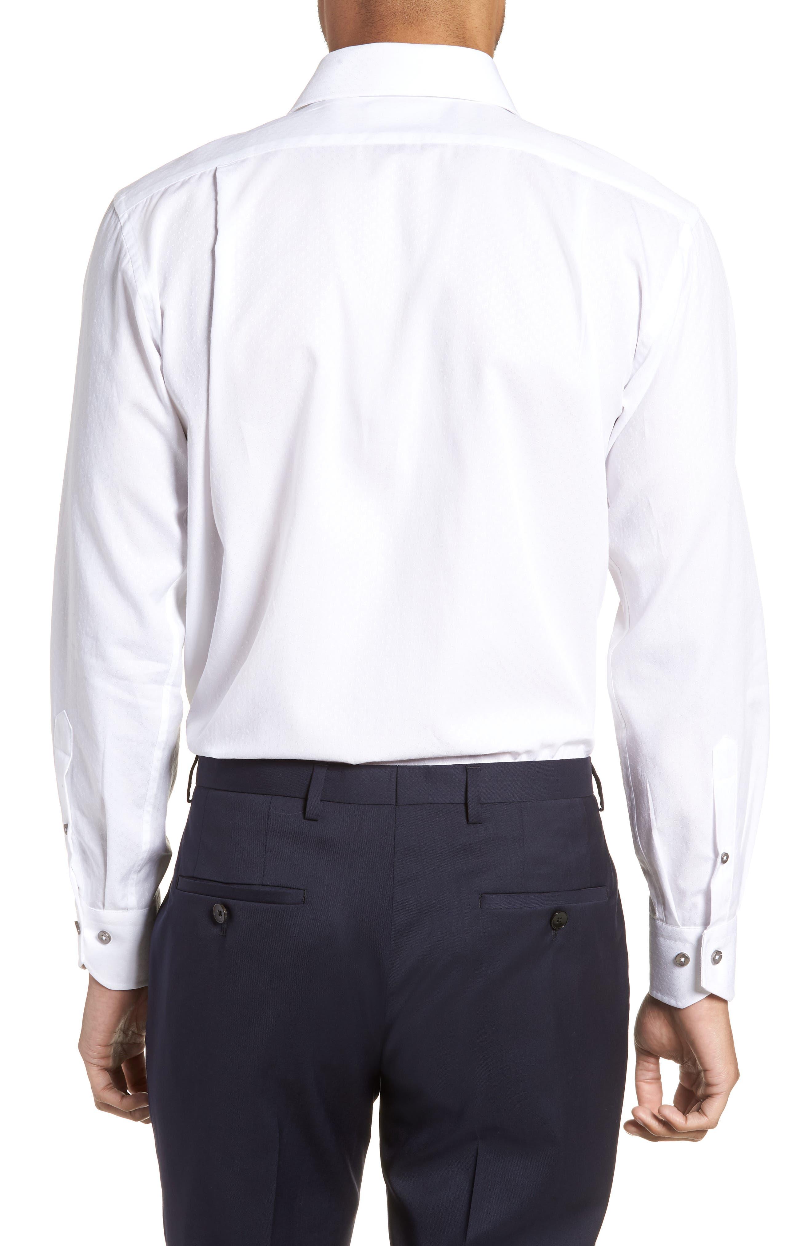 Trim Fit Floral Dress Shirt,                             Alternate thumbnail 3, color,                             White