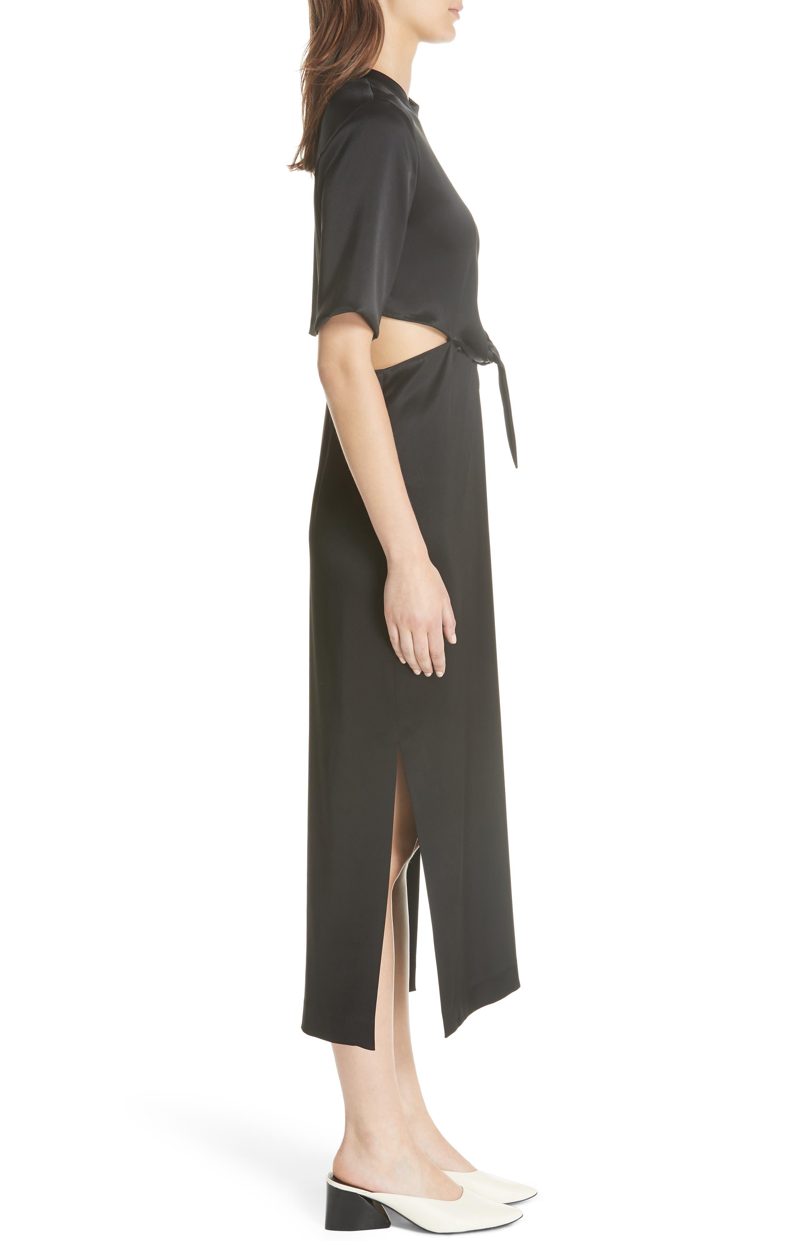 Bhumi Tie Waist Satin Dress,                             Alternate thumbnail 3, color,                             Black