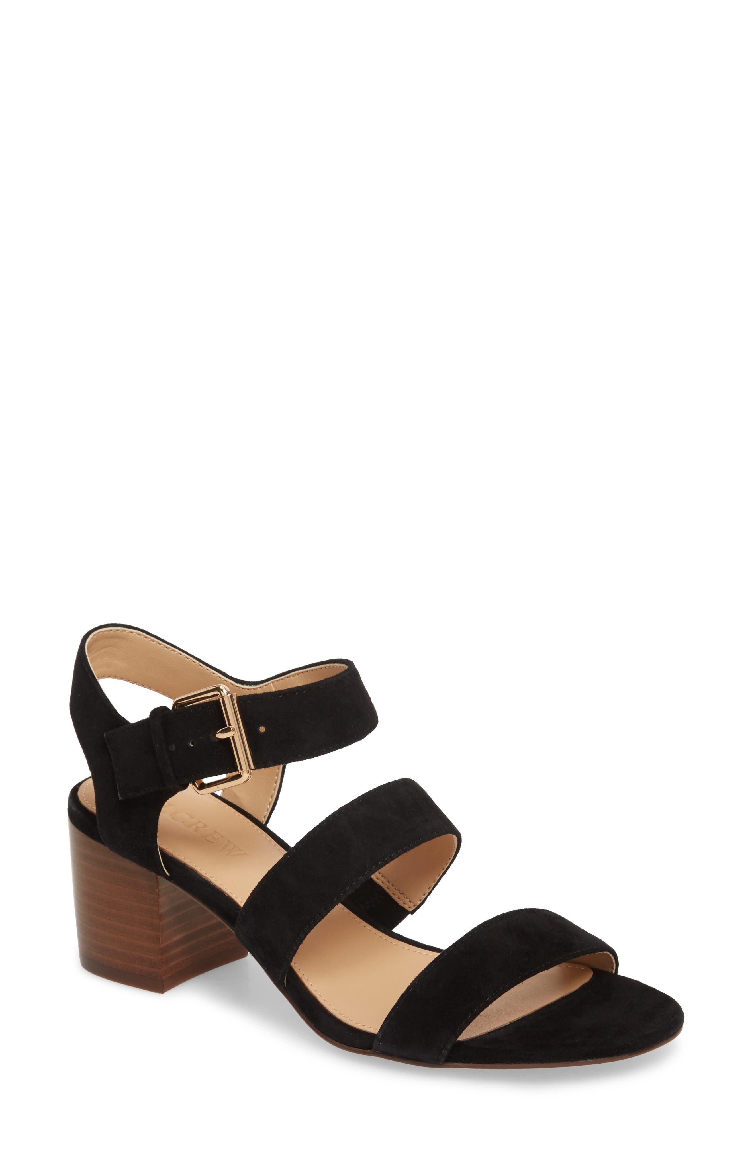 Three-Strap Suede Sandal,                         Main,                         color, Black Suede