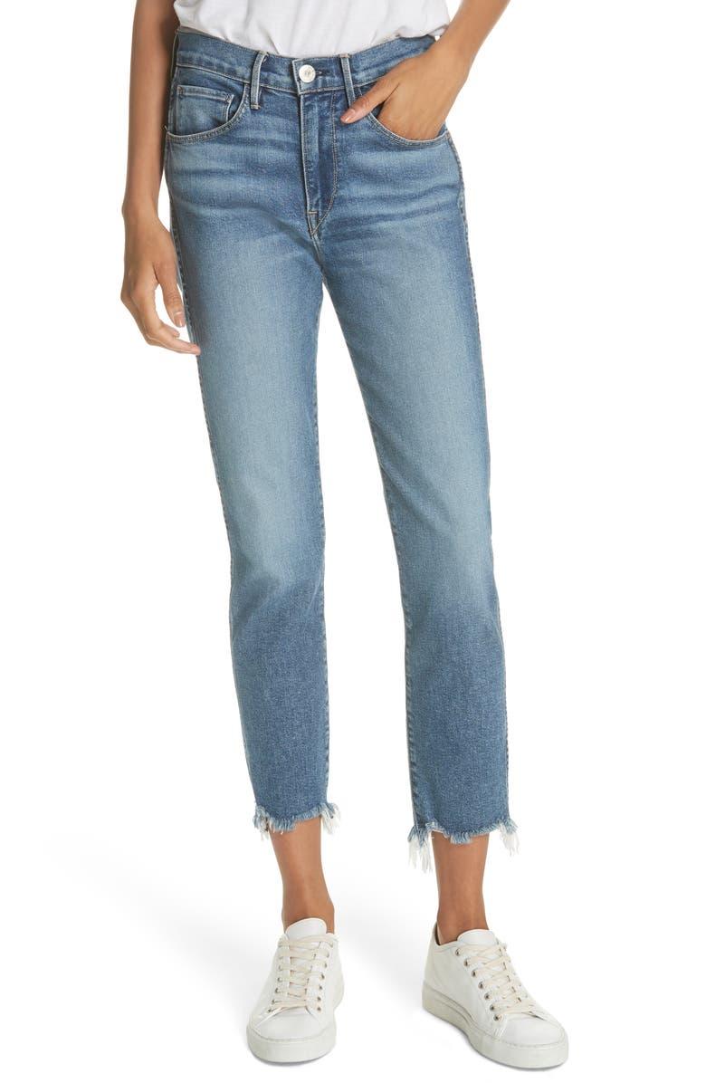 W3 Distressed Hem Crop Straight Leg Jeans