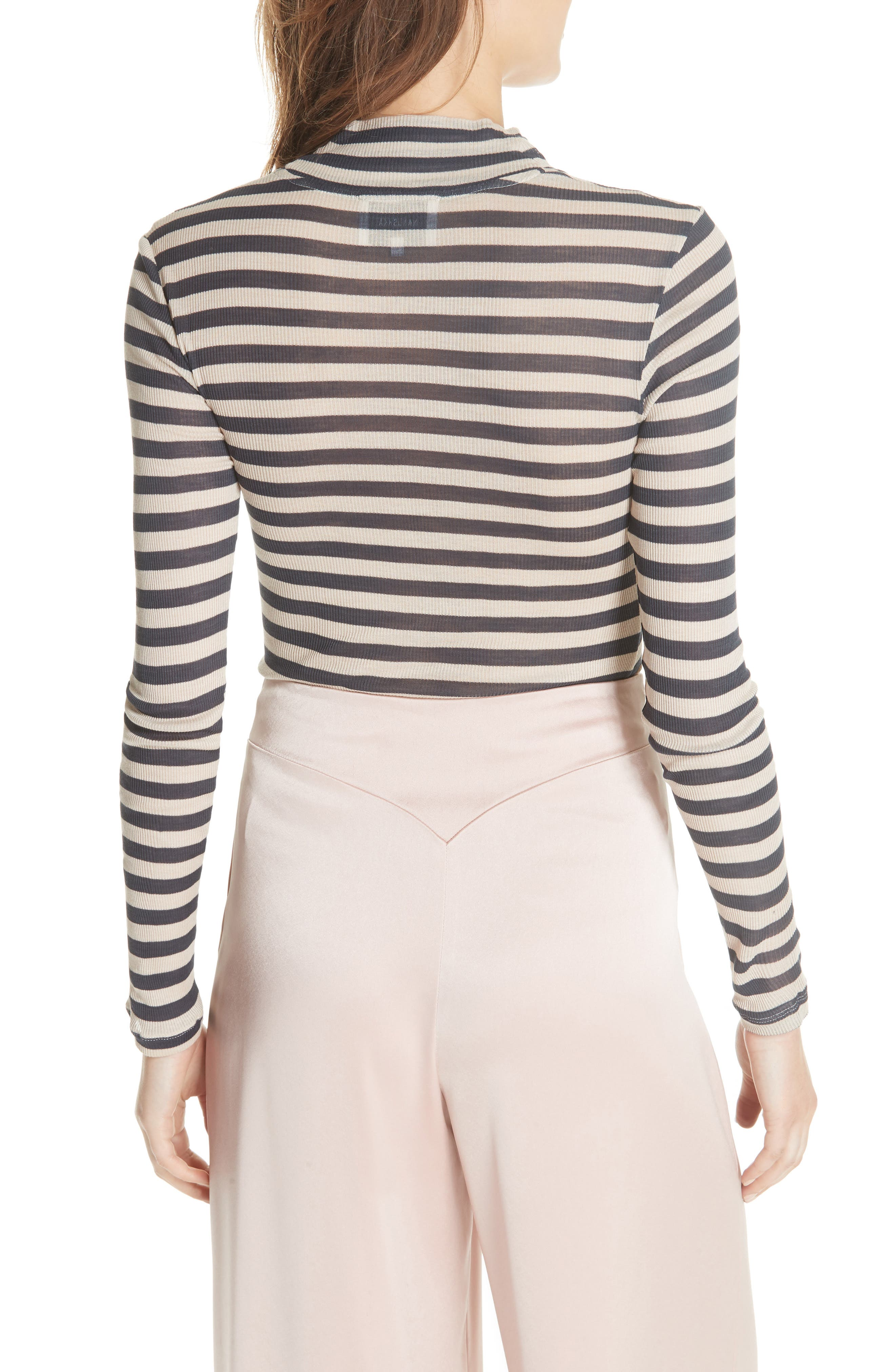 Alana Stripe Mock Neck Top,                             Alternate thumbnail 2, color,                             Navy Stripe