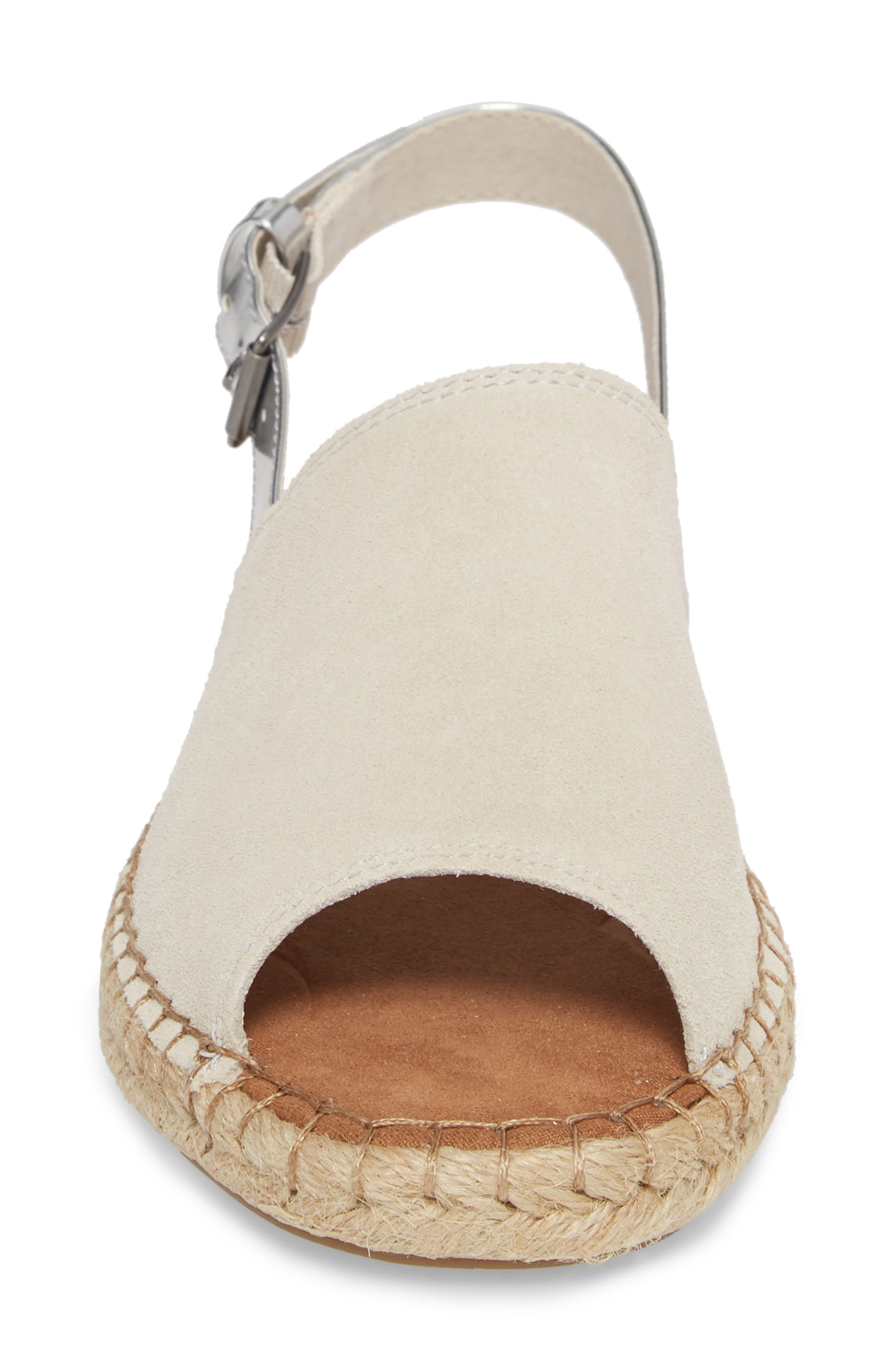 Clara Slingback Sandal,                             Alternate thumbnail 4, color,                             Birch Suede