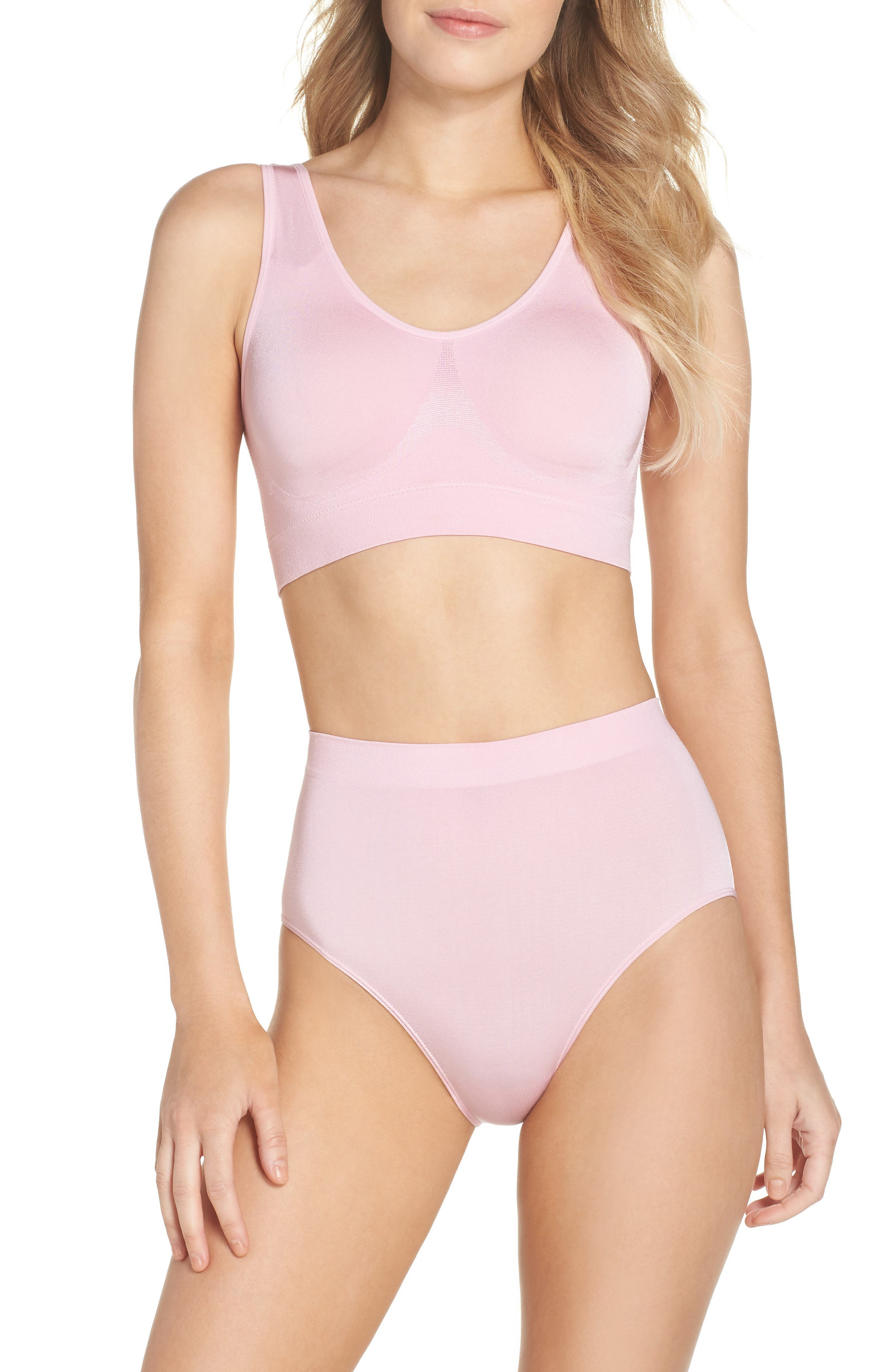 B Smooth Seamless Bralette,                             Alternate thumbnail 4, color,                             Cameo Pink