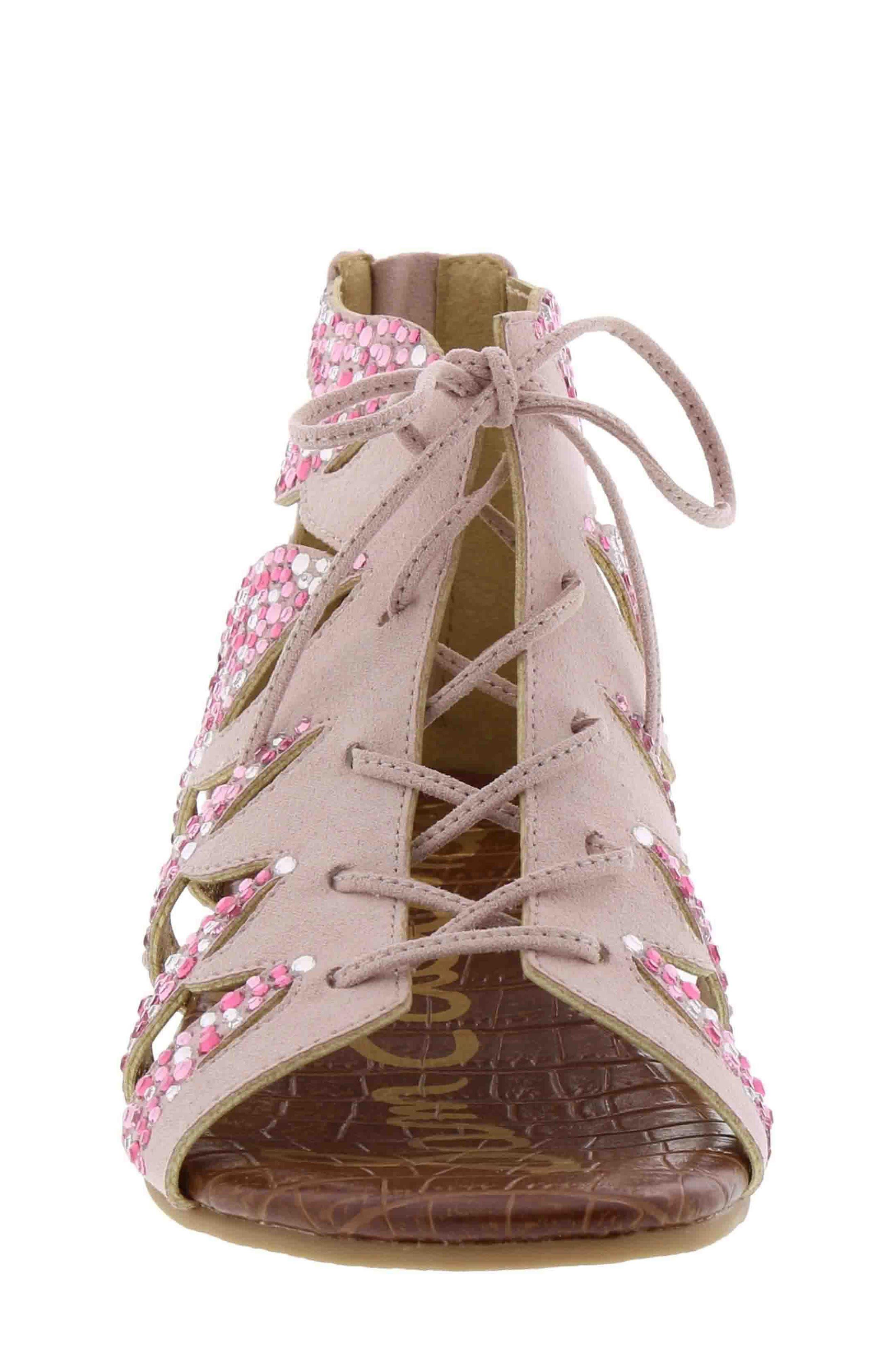 Danica Crystal Embellished Sandal,                             Alternate thumbnail 3, color,                             Blush Faux Suede