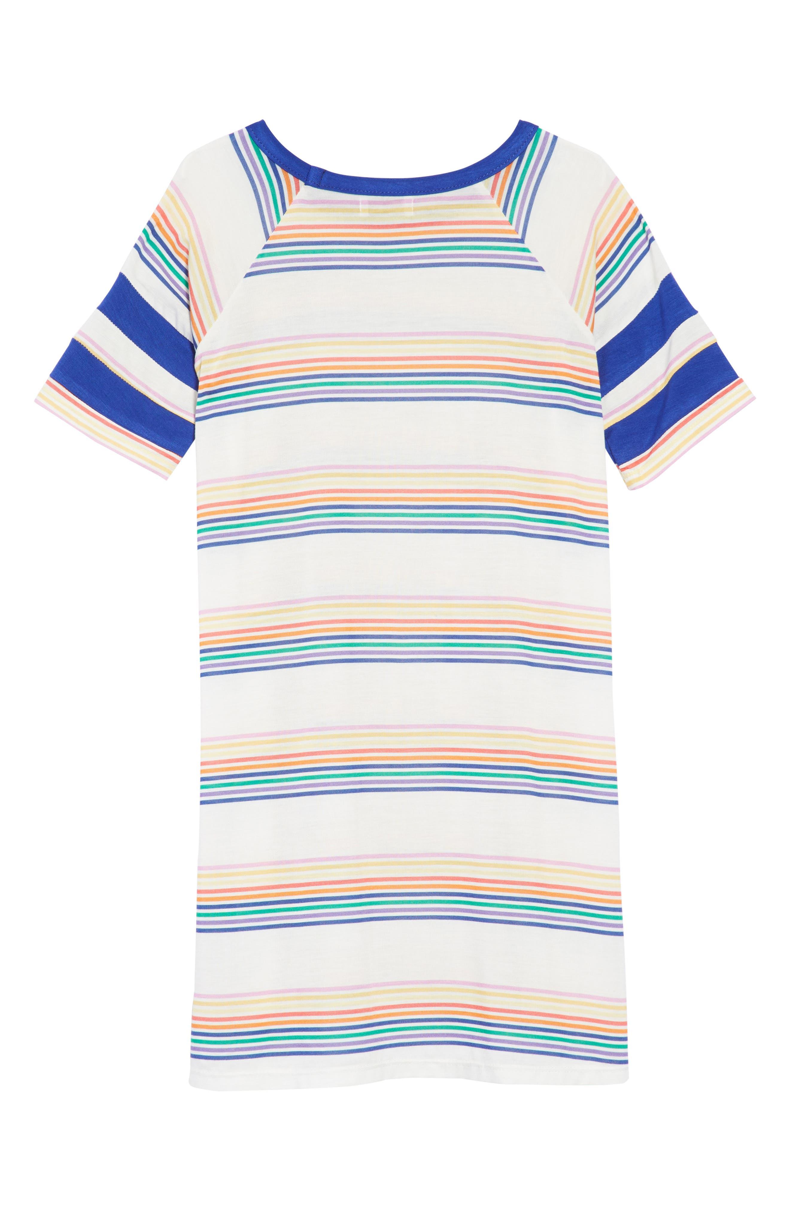 Mineral Wash T-Shirt Dress,                             Alternate thumbnail 2, color,                             Surf The Web Stripe