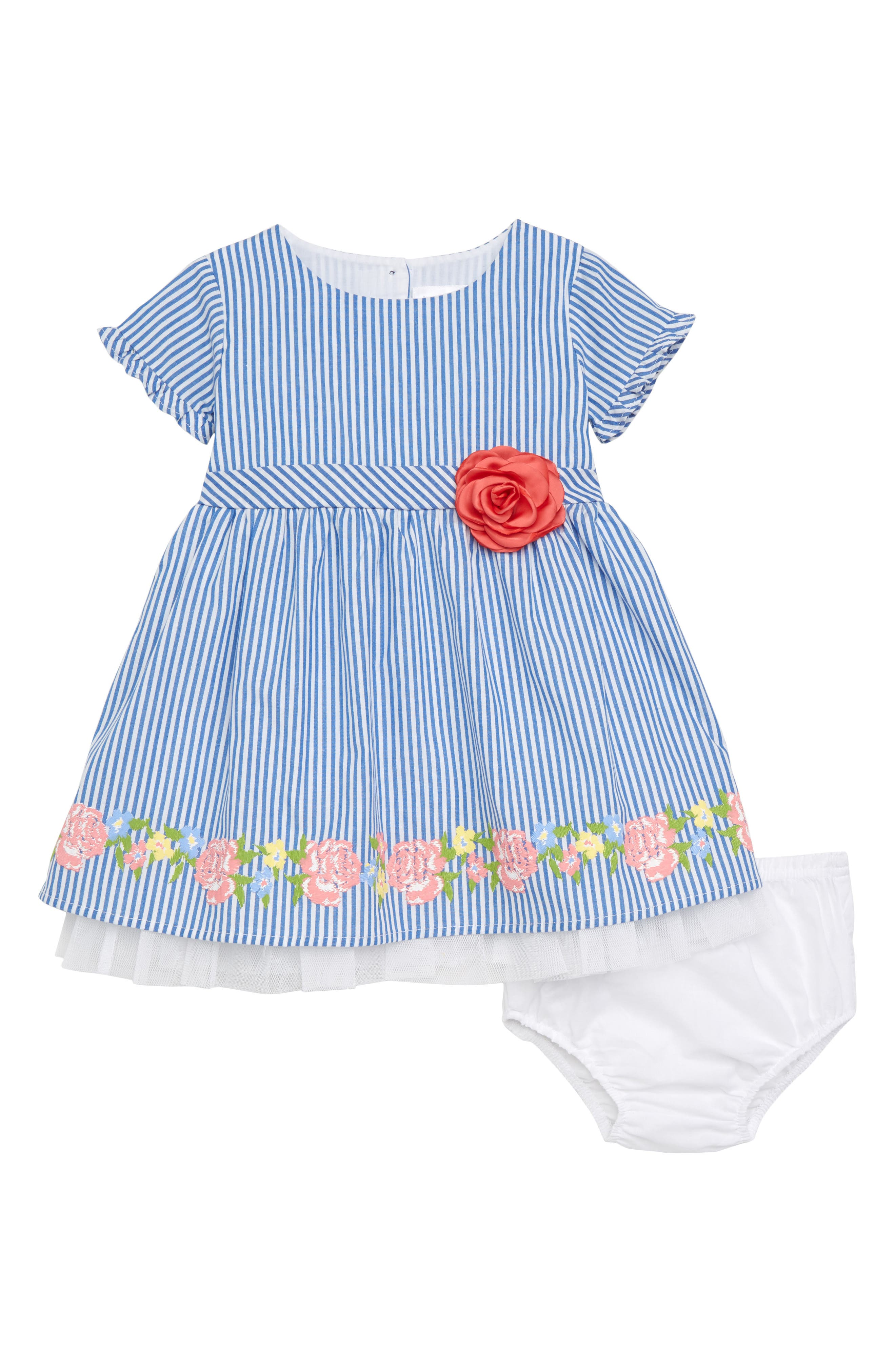 BLUSH by Us Angels Short Sleeve Stripe Dress (Baby Girls)