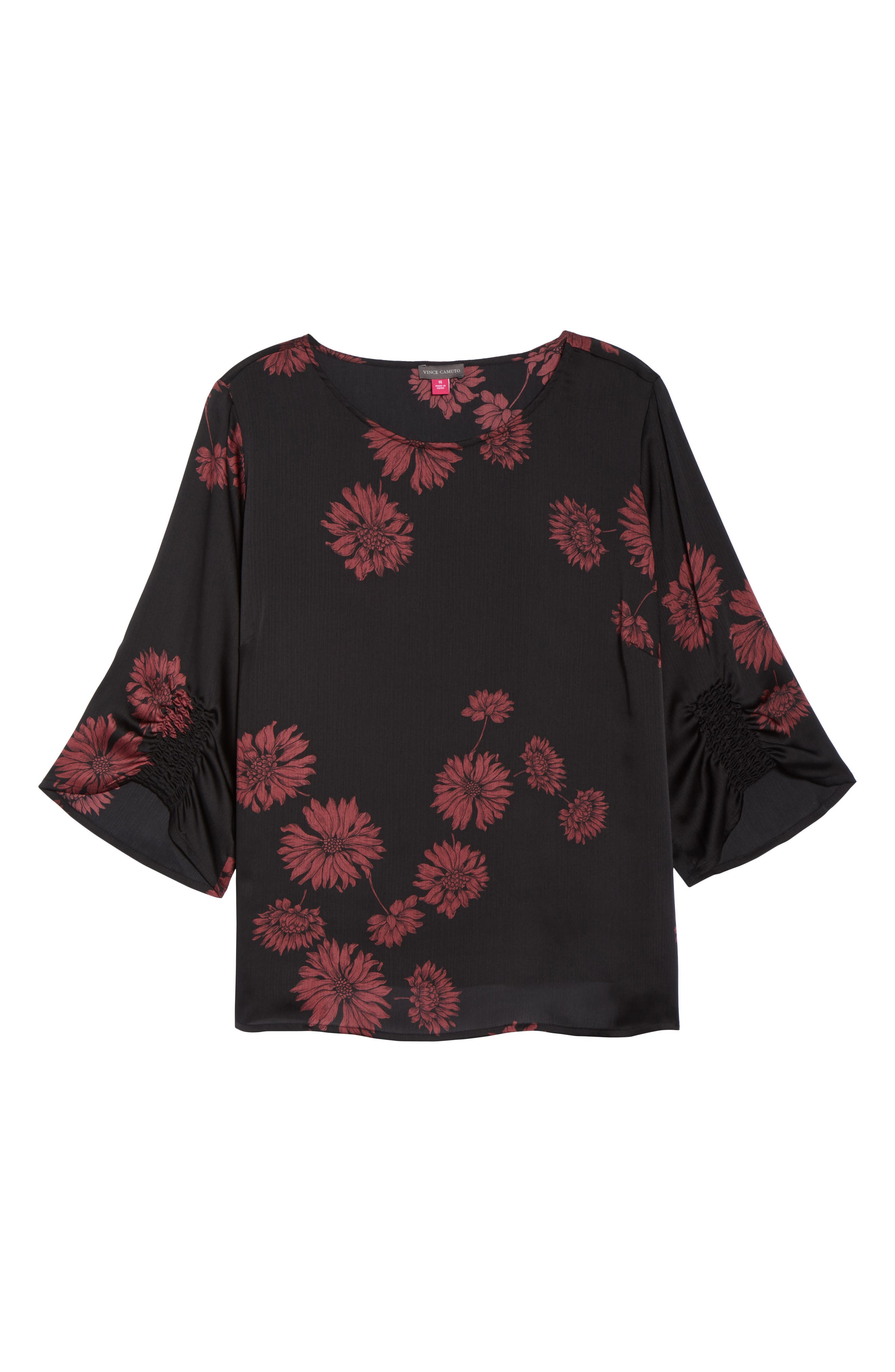 Chateau Floral Print Top,                             Alternate thumbnail 6, color,                             Rich Black