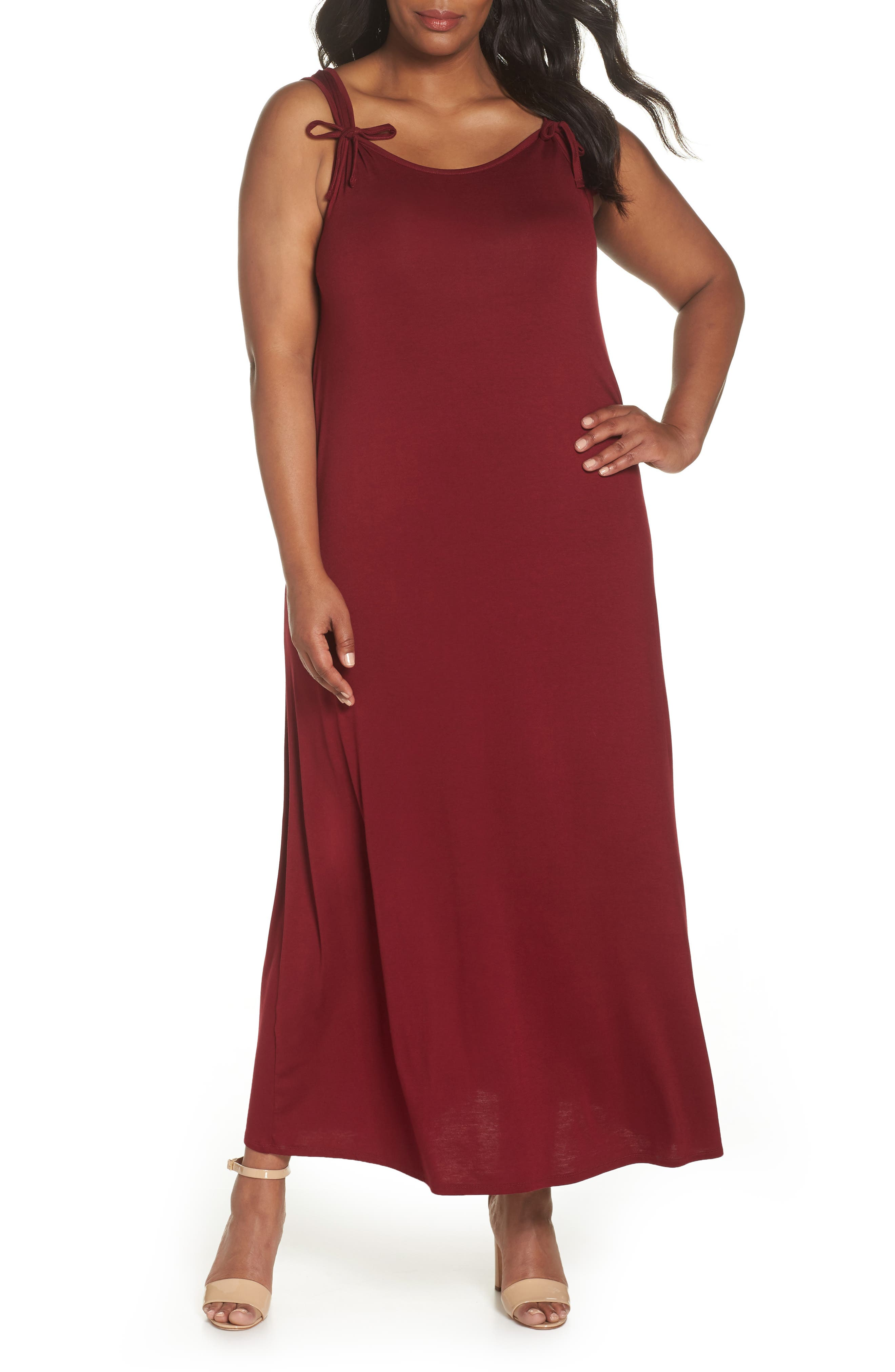 Tie Strap Knit Maxi Dress,                             Main thumbnail 1, color,                             Wine