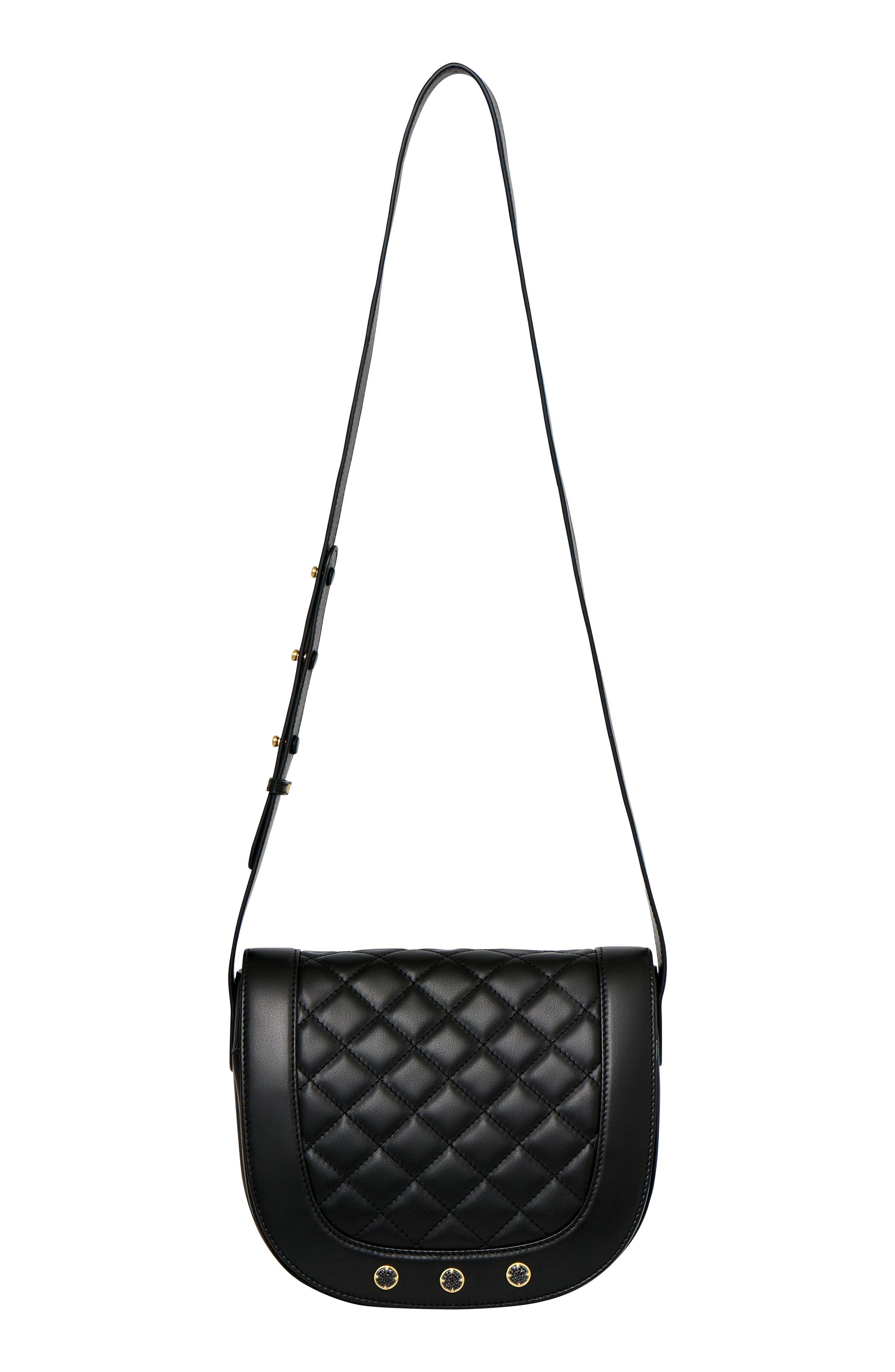Bleeker Quilted Leather Messenger Bag,                             Alternate thumbnail 5, color,                             Black