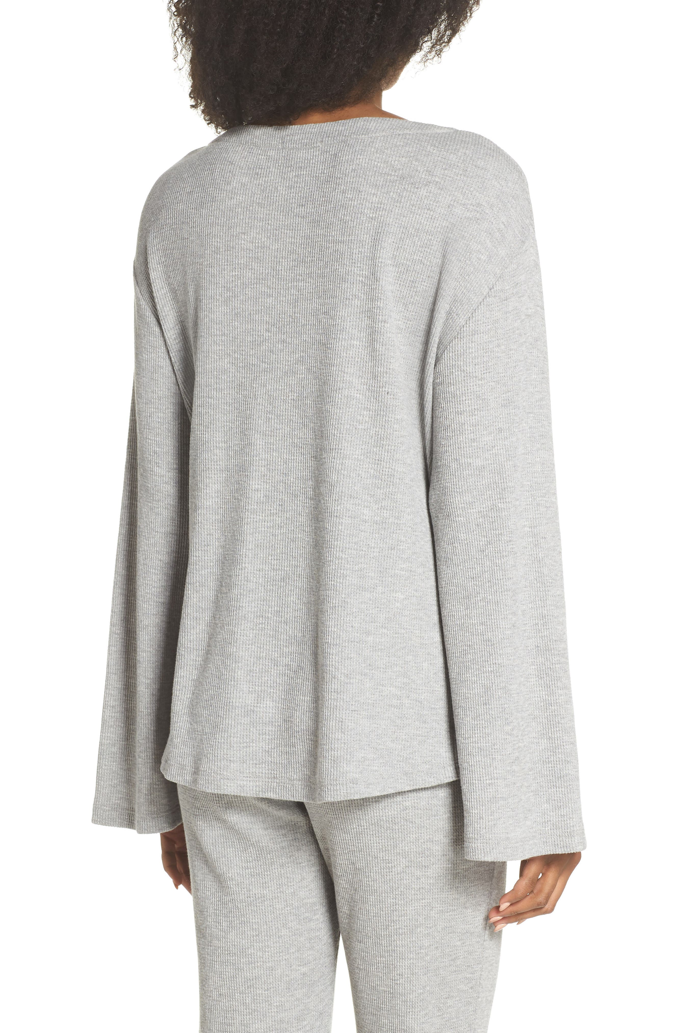 Elyse Lace-Up Waffle Knit Sleep Top,                             Alternate thumbnail 2, color,                             Heather Grey