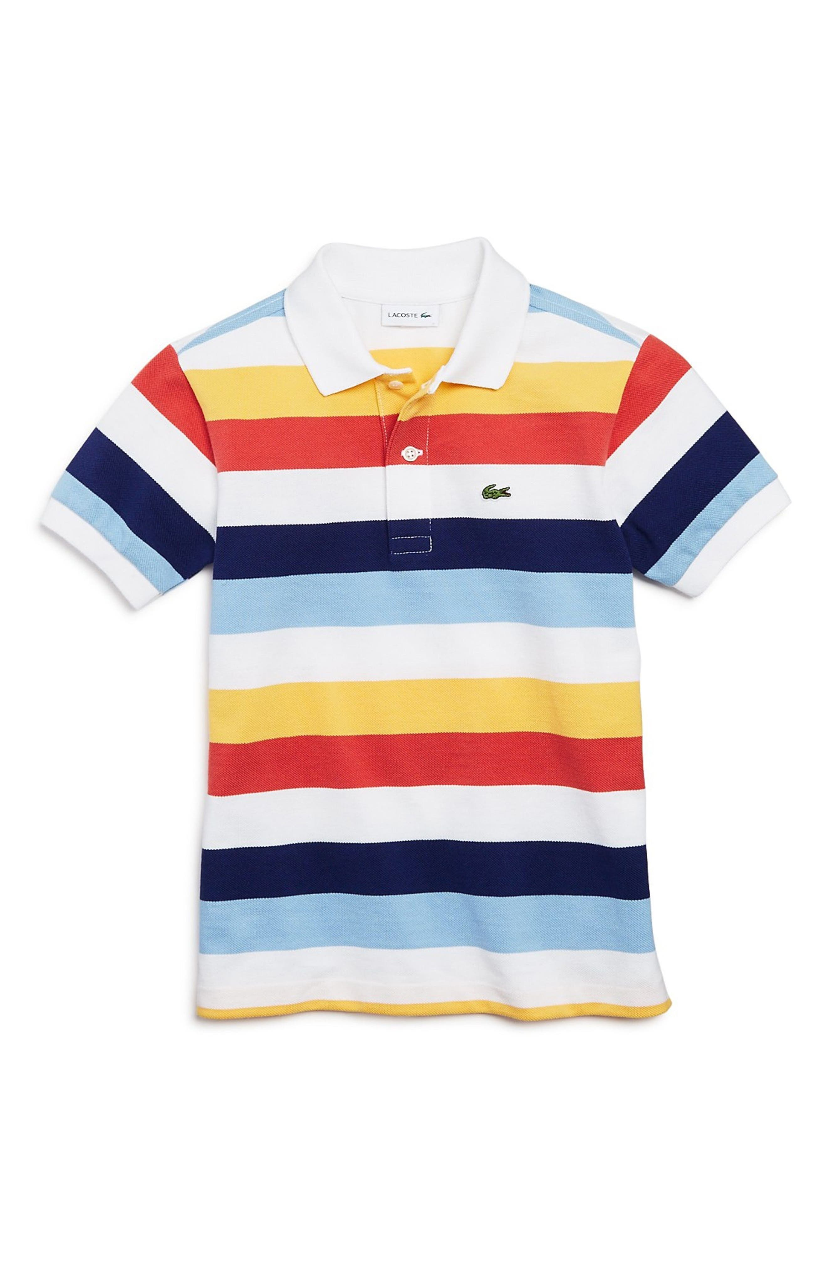 Multicolor Stripe Polo,                         Main,                         color, White/ Green