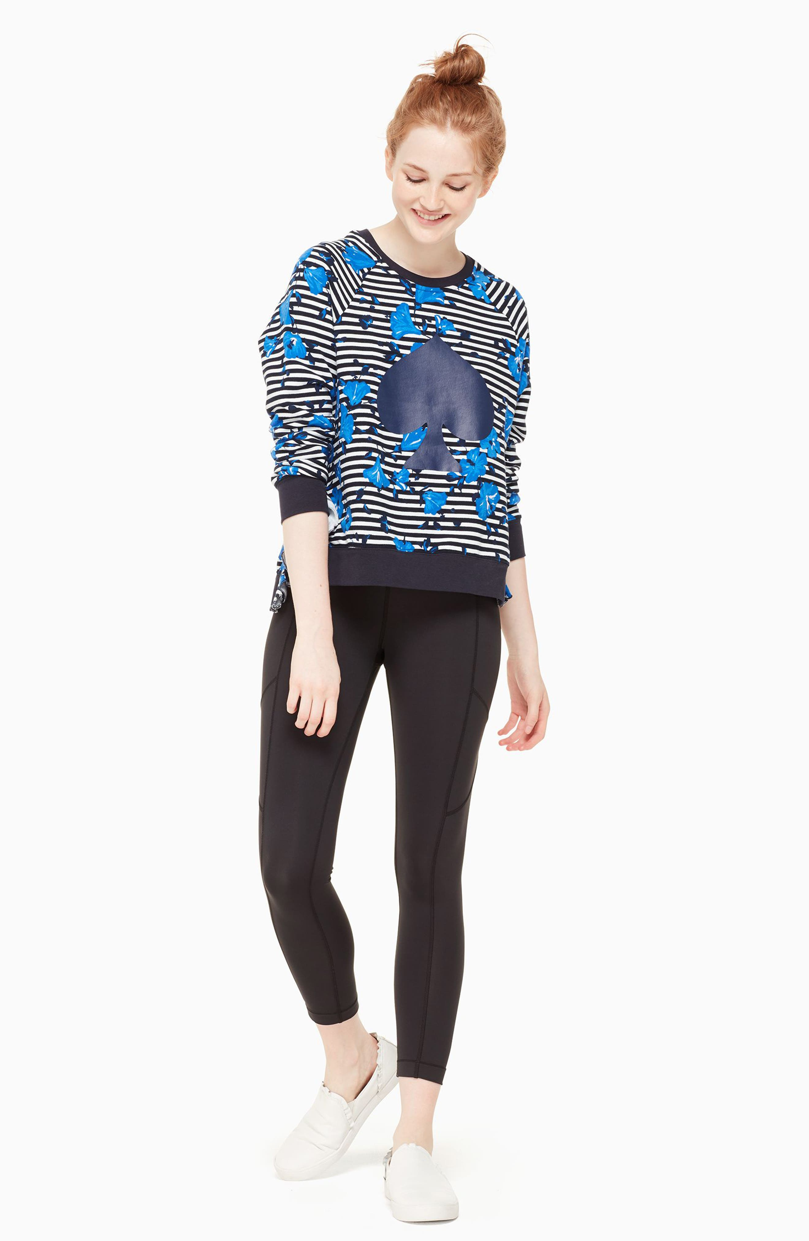 hibiscus stripe sweatshirt,                             Alternate thumbnail 6, color,                             Rich Navy