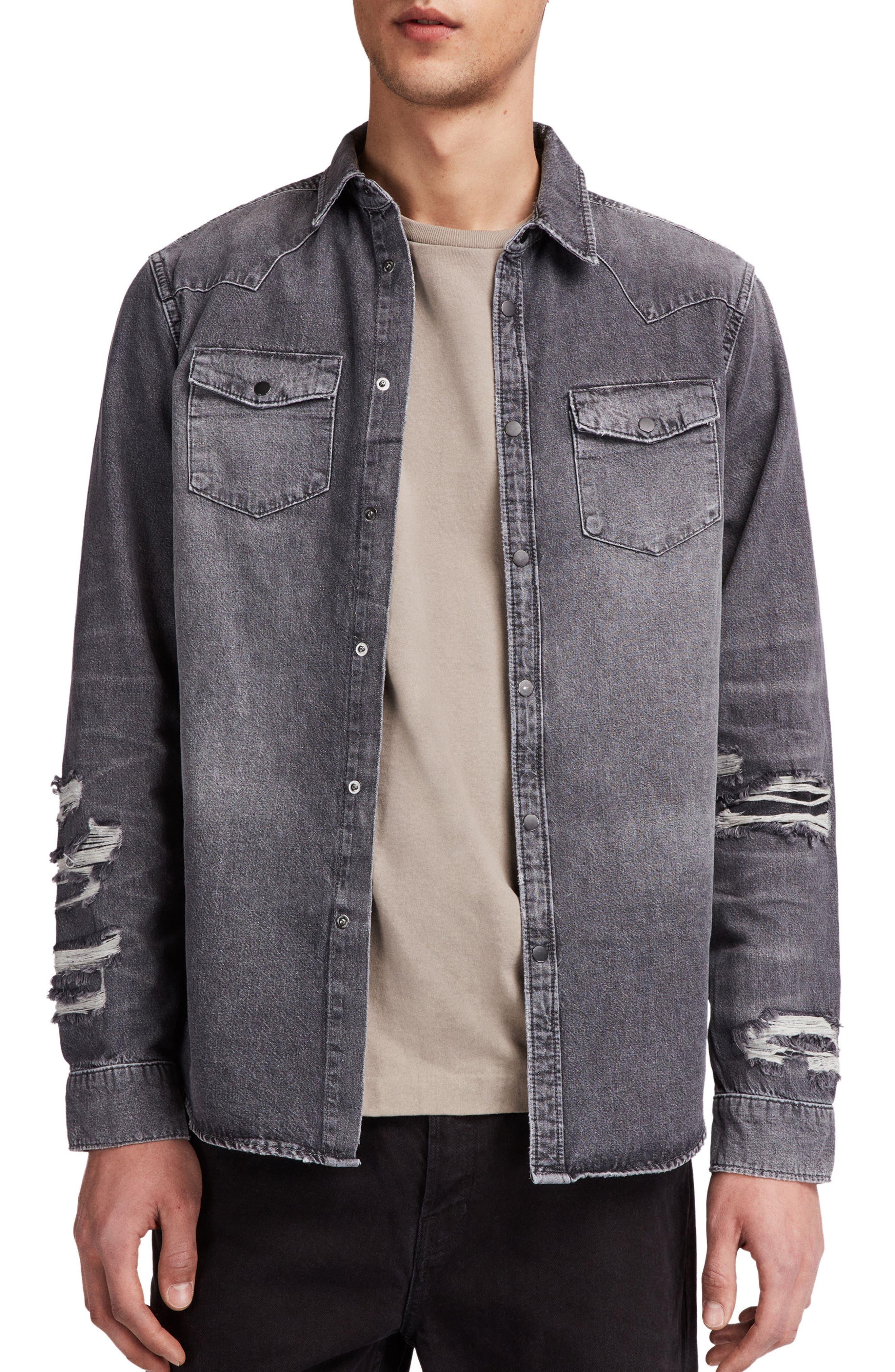 Beegan Distressed Denim Shirt Jacket,                         Main,                         color, Black