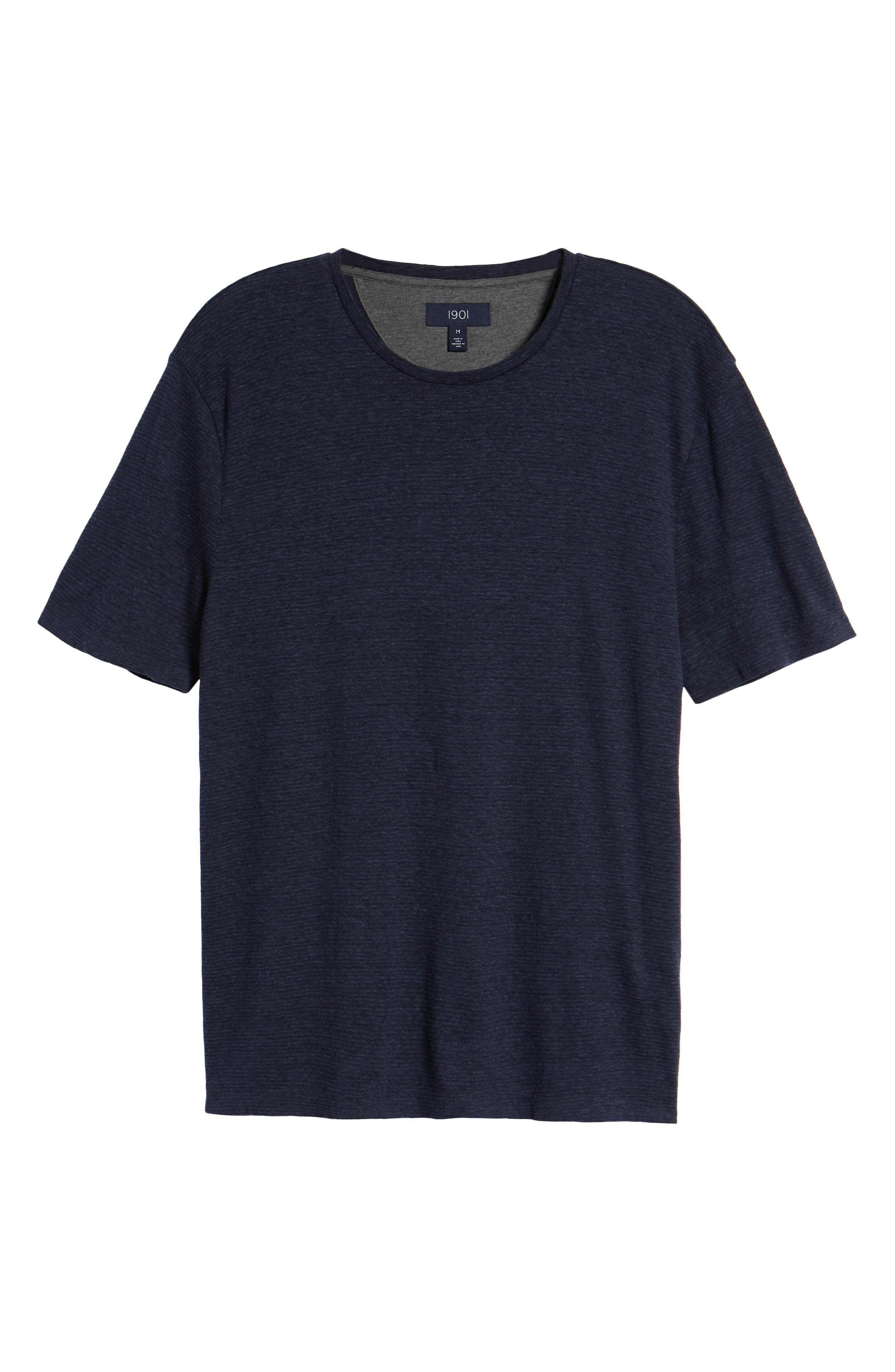 Linen Blend Jersey T-Shirt,                             Alternate thumbnail 6, color,                             Navy Iris Heather