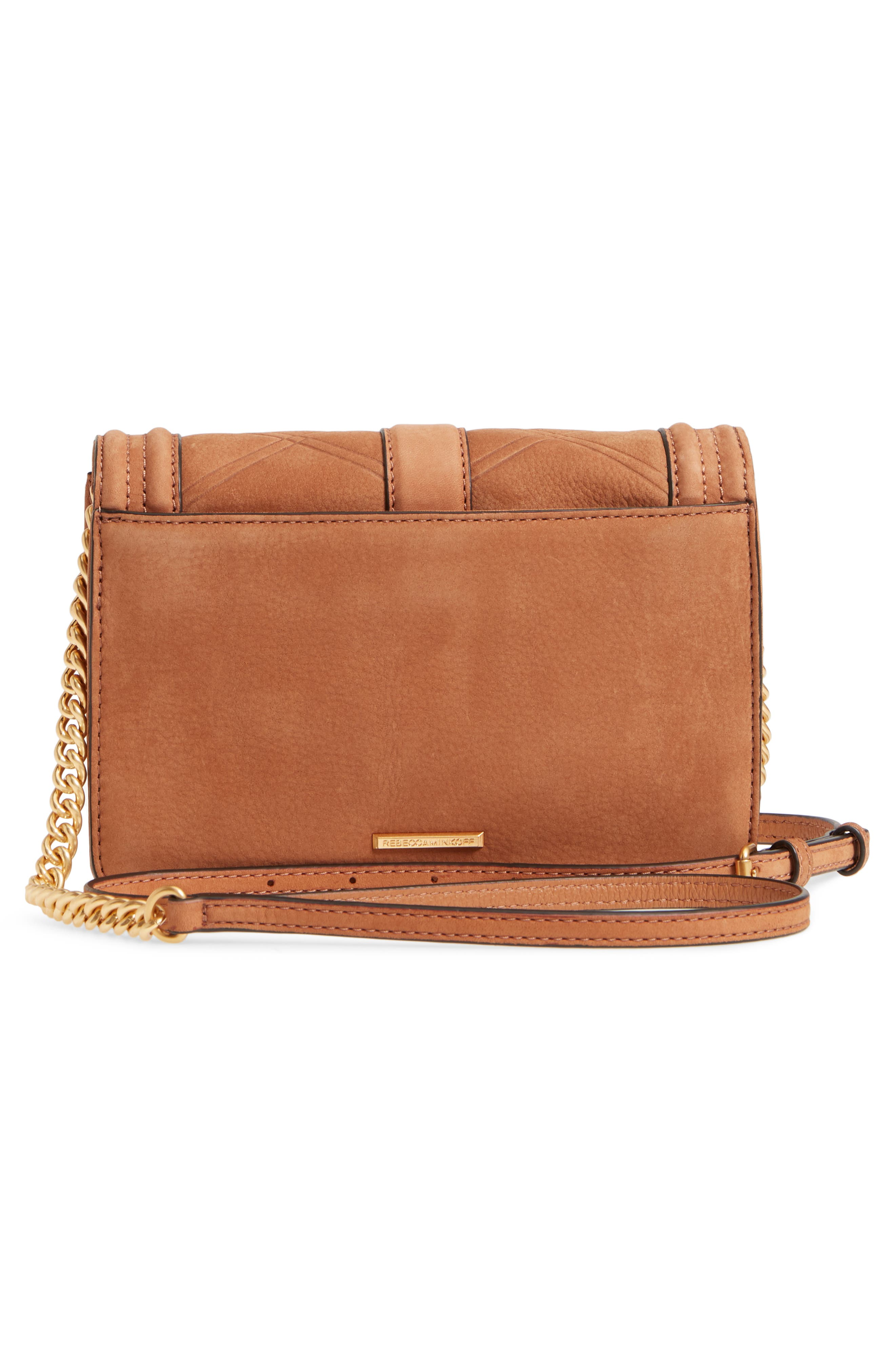 Small Love Nubuck Leather Crossbody Bag,                             Alternate thumbnail 3, color,                             Almond