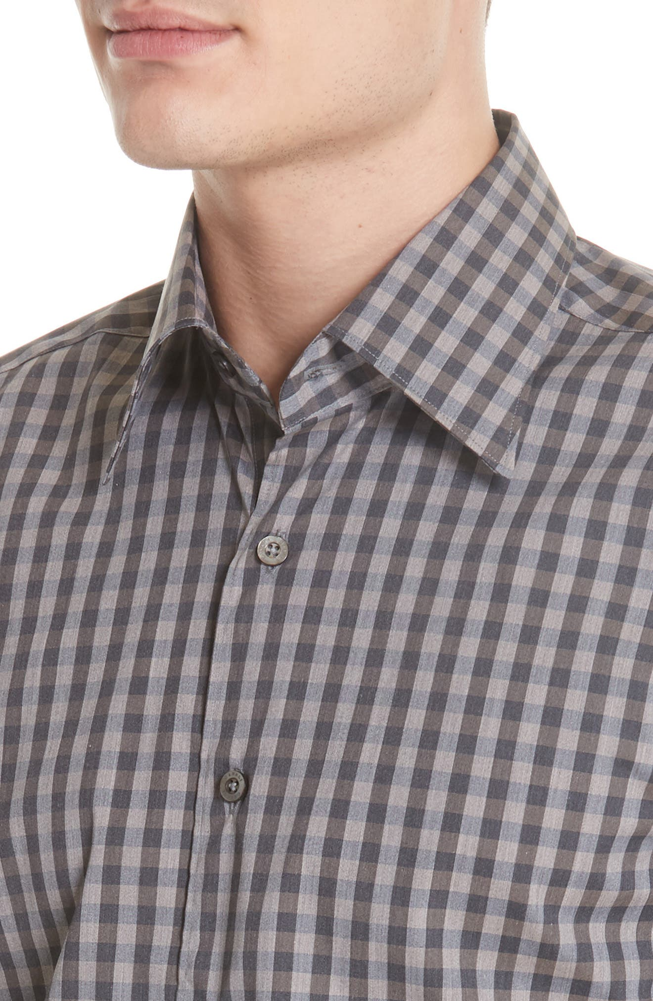 Regular Fit Stretch Check Sport Shirt,                             Alternate thumbnail 2, color,                             Brown