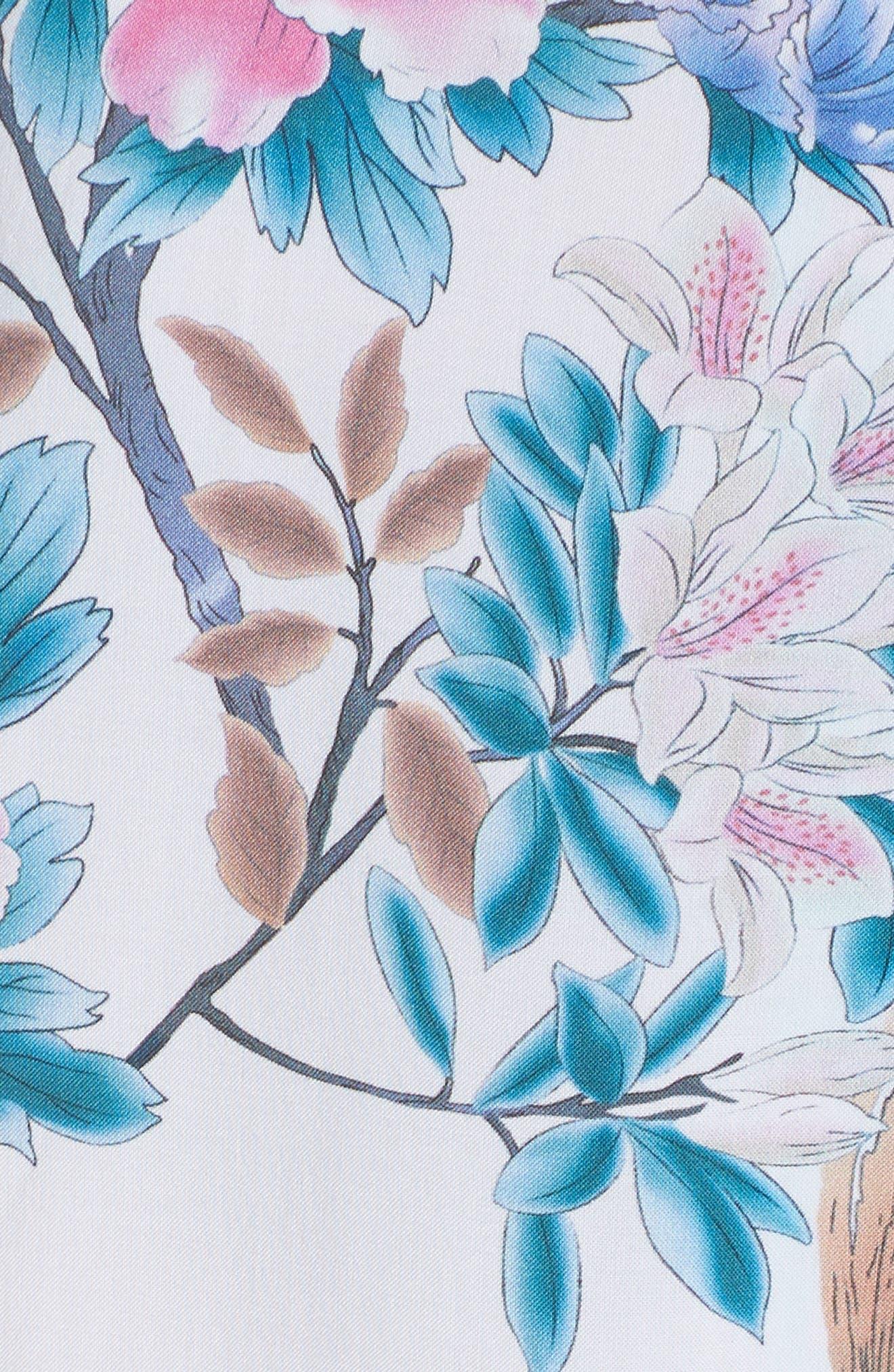 Talulah Boho Short Robe,                             Alternate thumbnail 5, color,                             Ivory Floral