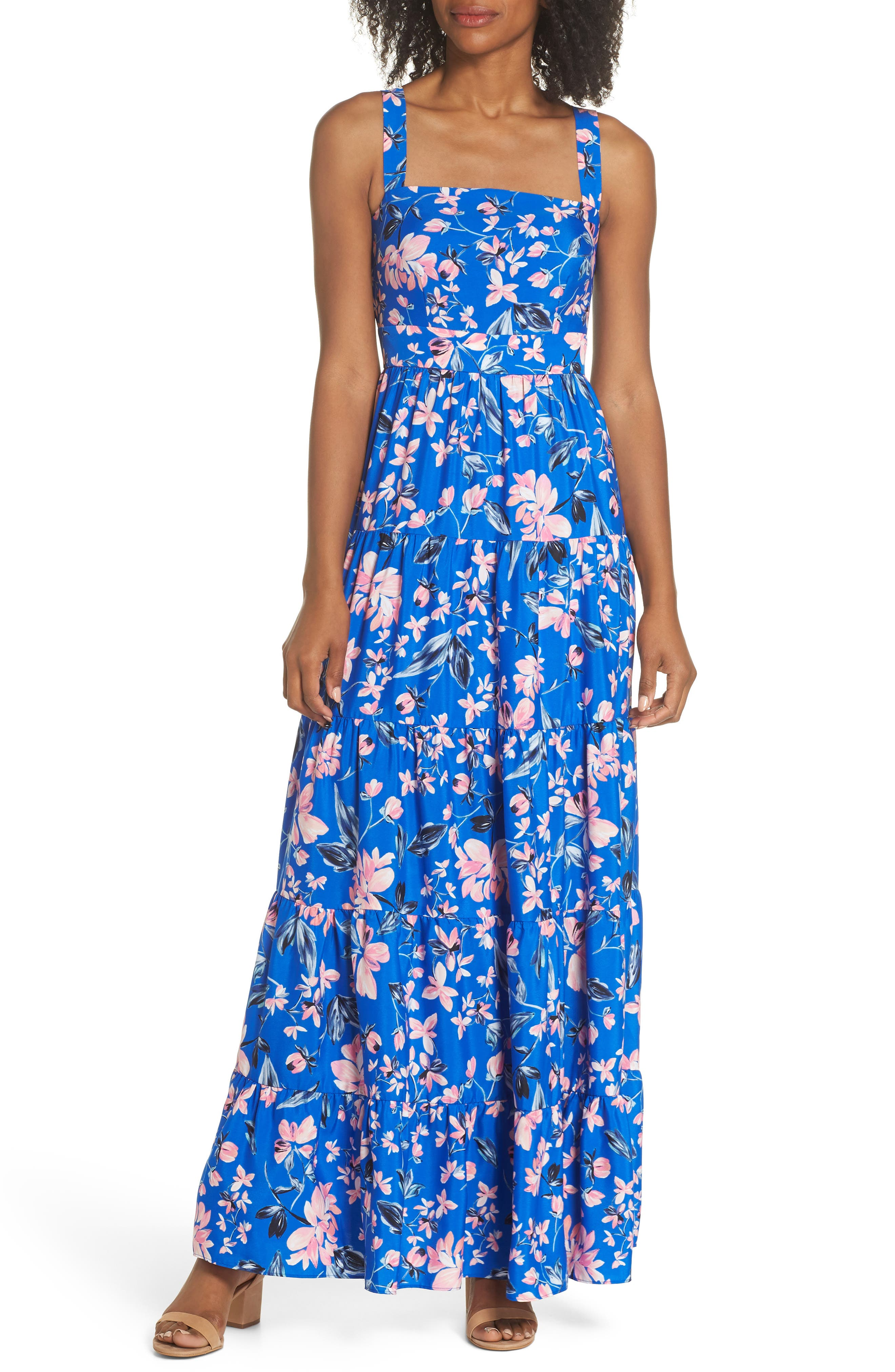 Floral Tiered Maxi Dress,                         Main,                         color, Cobalt