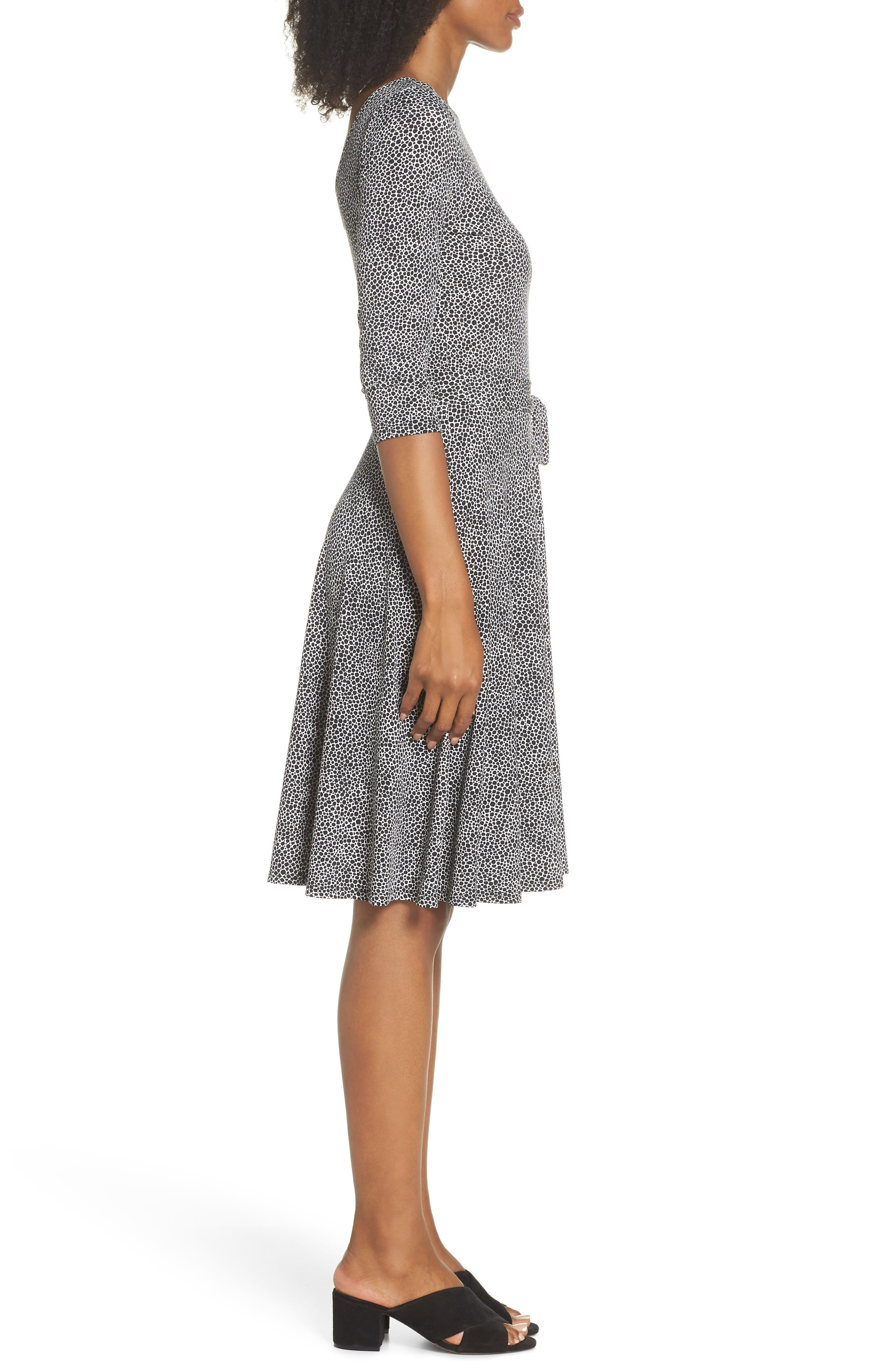 Belted Print Jersey A-Line Dress,                             Alternate thumbnail 3, color,                             Pebble