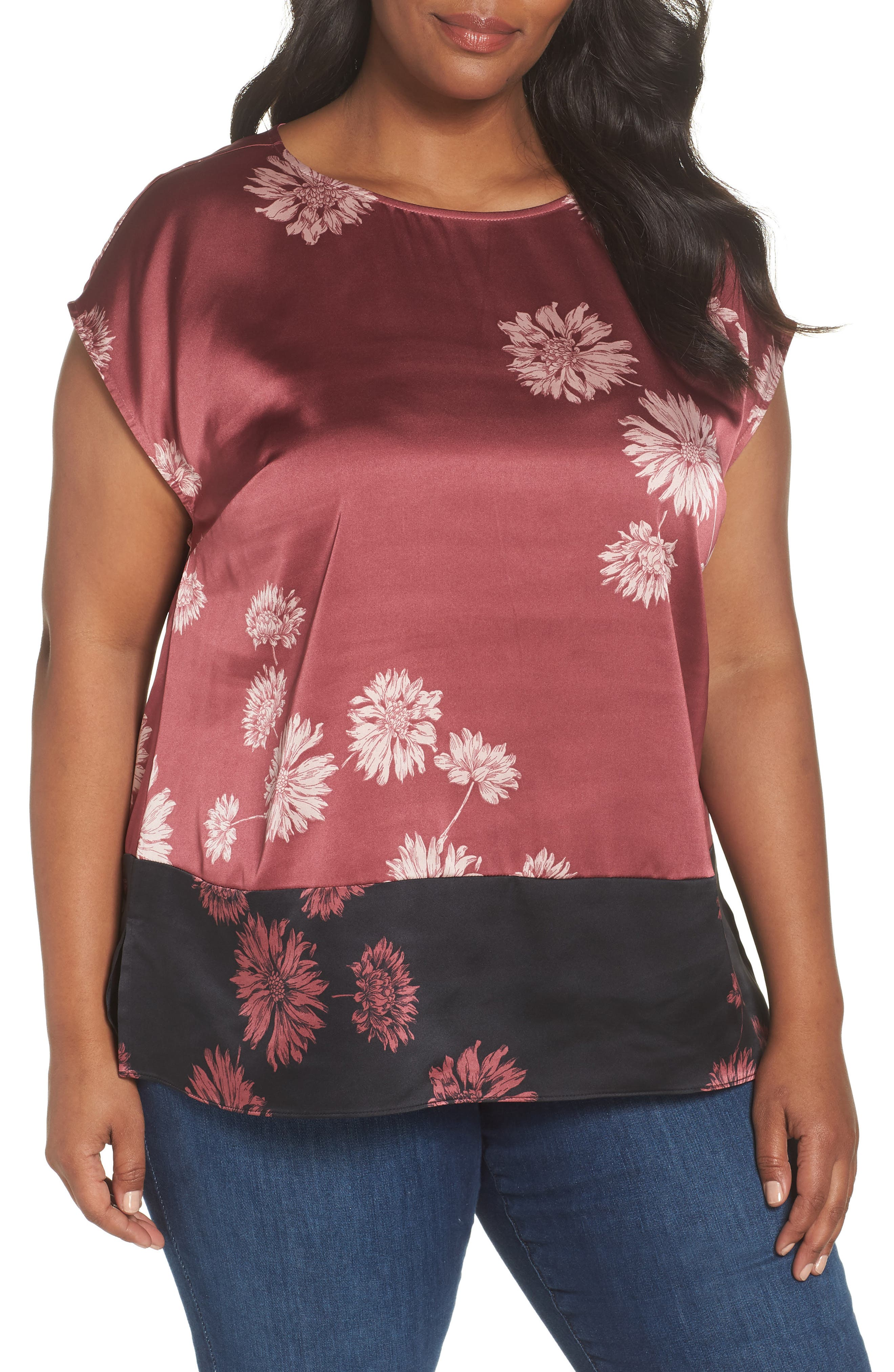 Chateau Floral Print Top,                         Main,                         color, Summer Rose