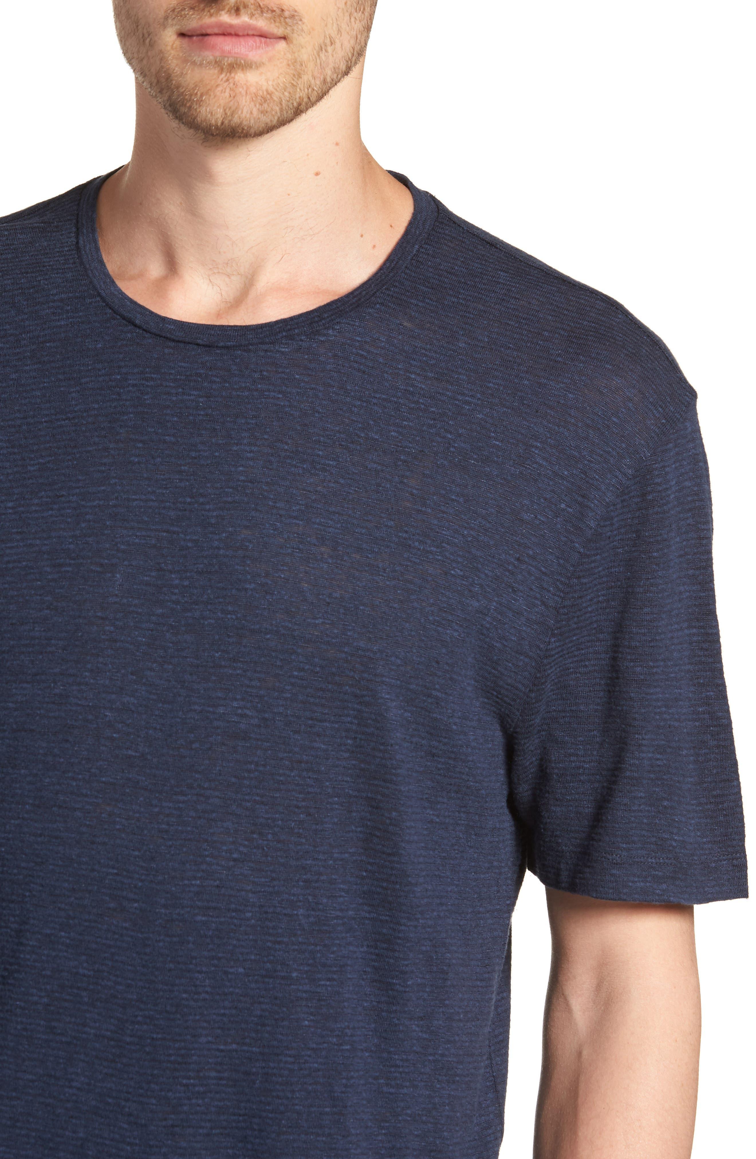 Linen Blend Jersey T-Shirt,                             Alternate thumbnail 4, color,                             Navy Iris Heather