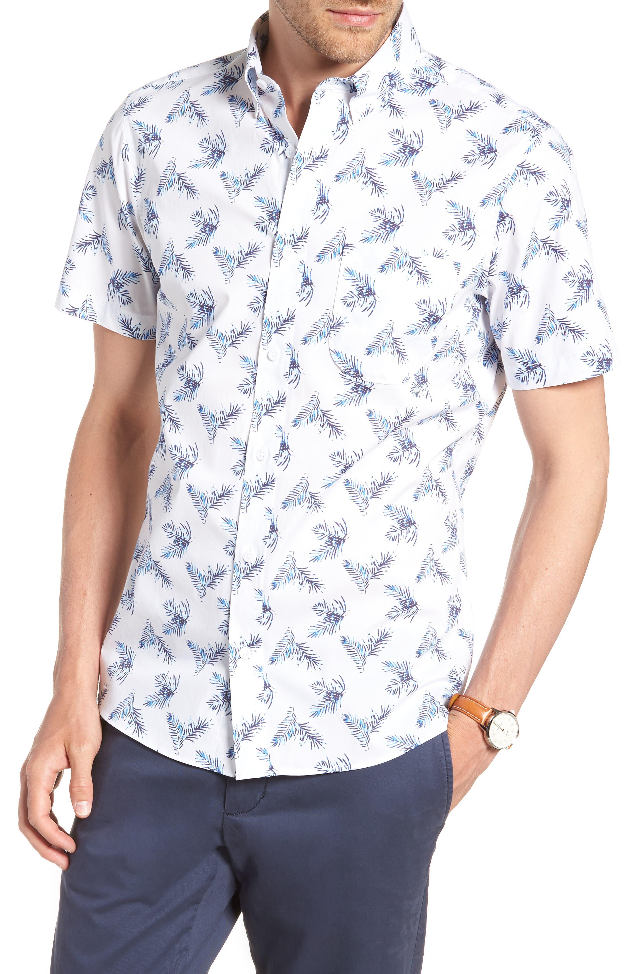 Trim Fit Palm Print Sport Shirt,                             Main thumbnail 1, color,                             White Blue Palm