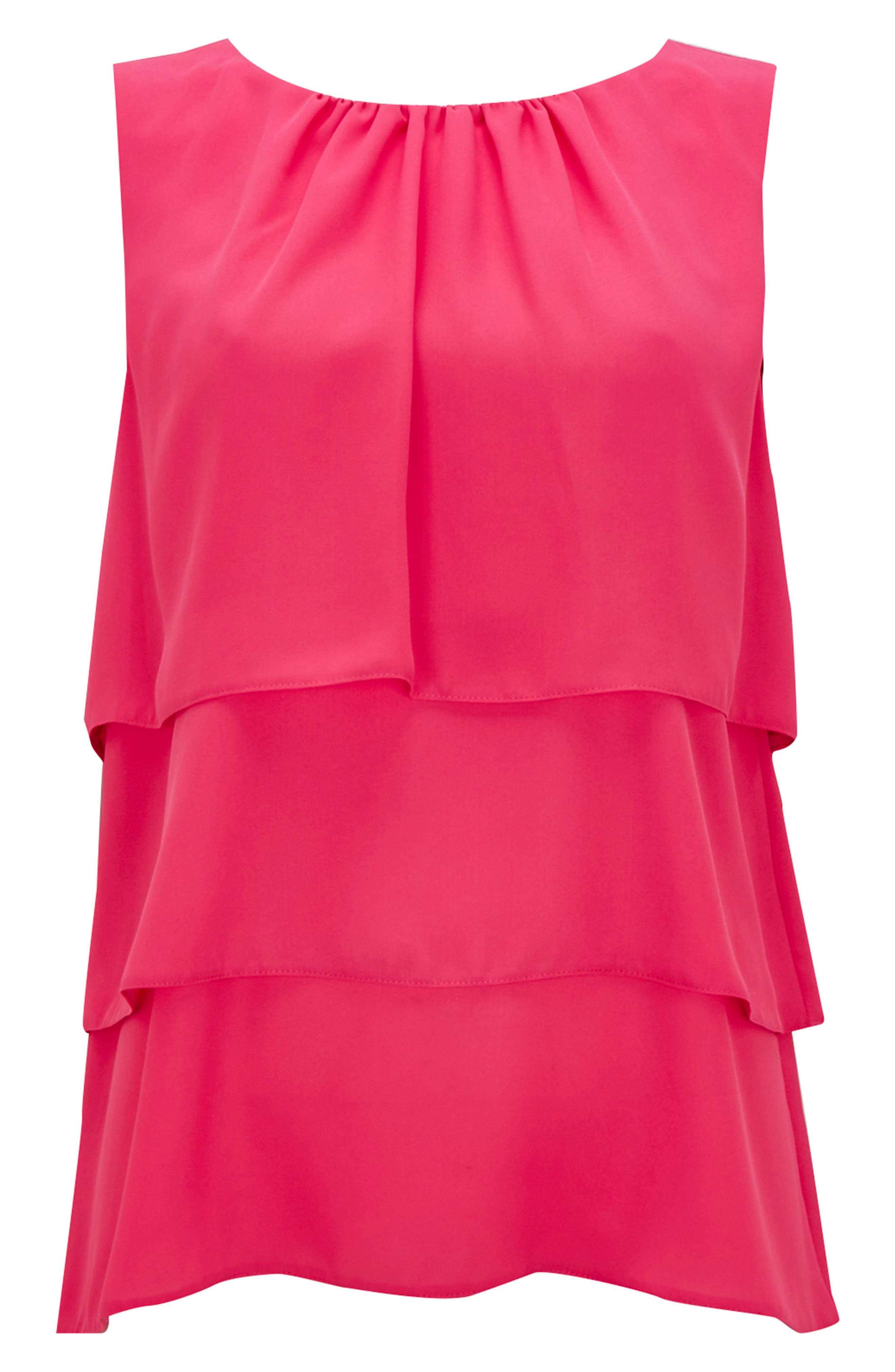 Tiered Sleeveless Top,                             Alternate thumbnail 5, color,                             Bright Pink