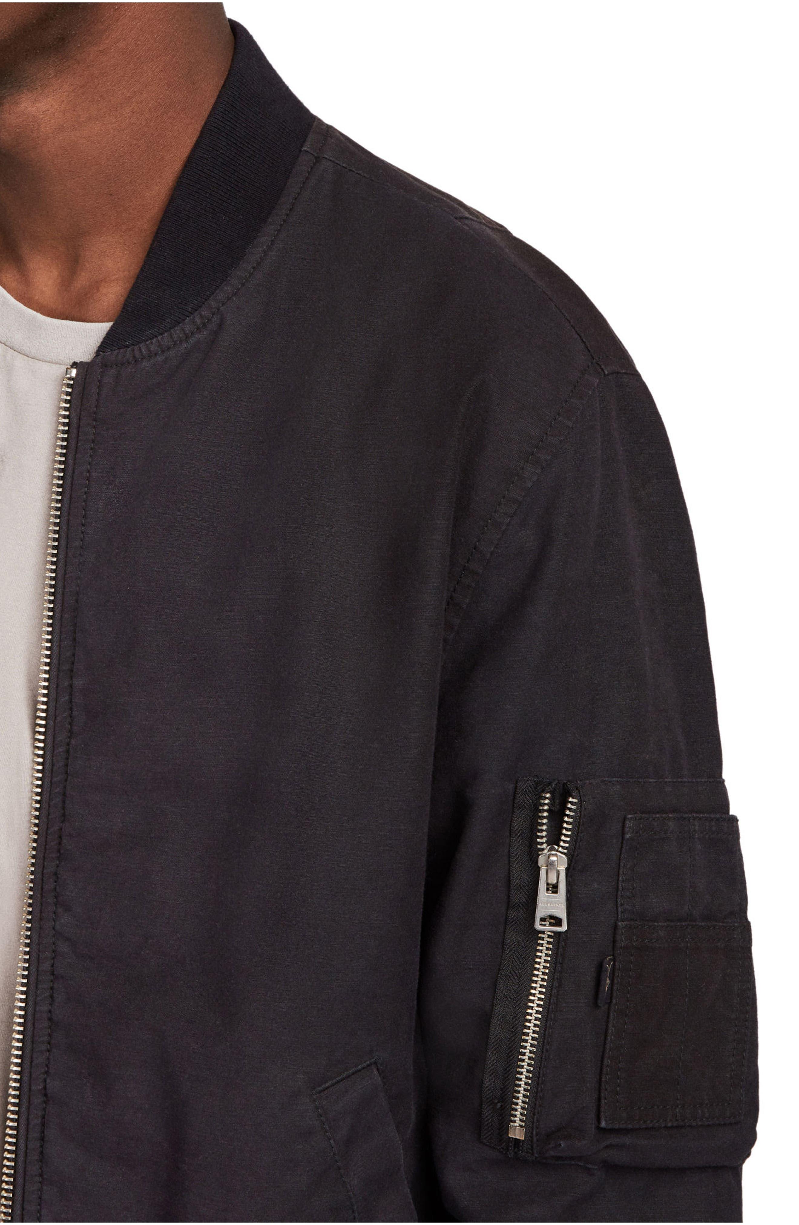 Moyne Bomber Jacket,                             Alternate thumbnail 4, color,                             Black
