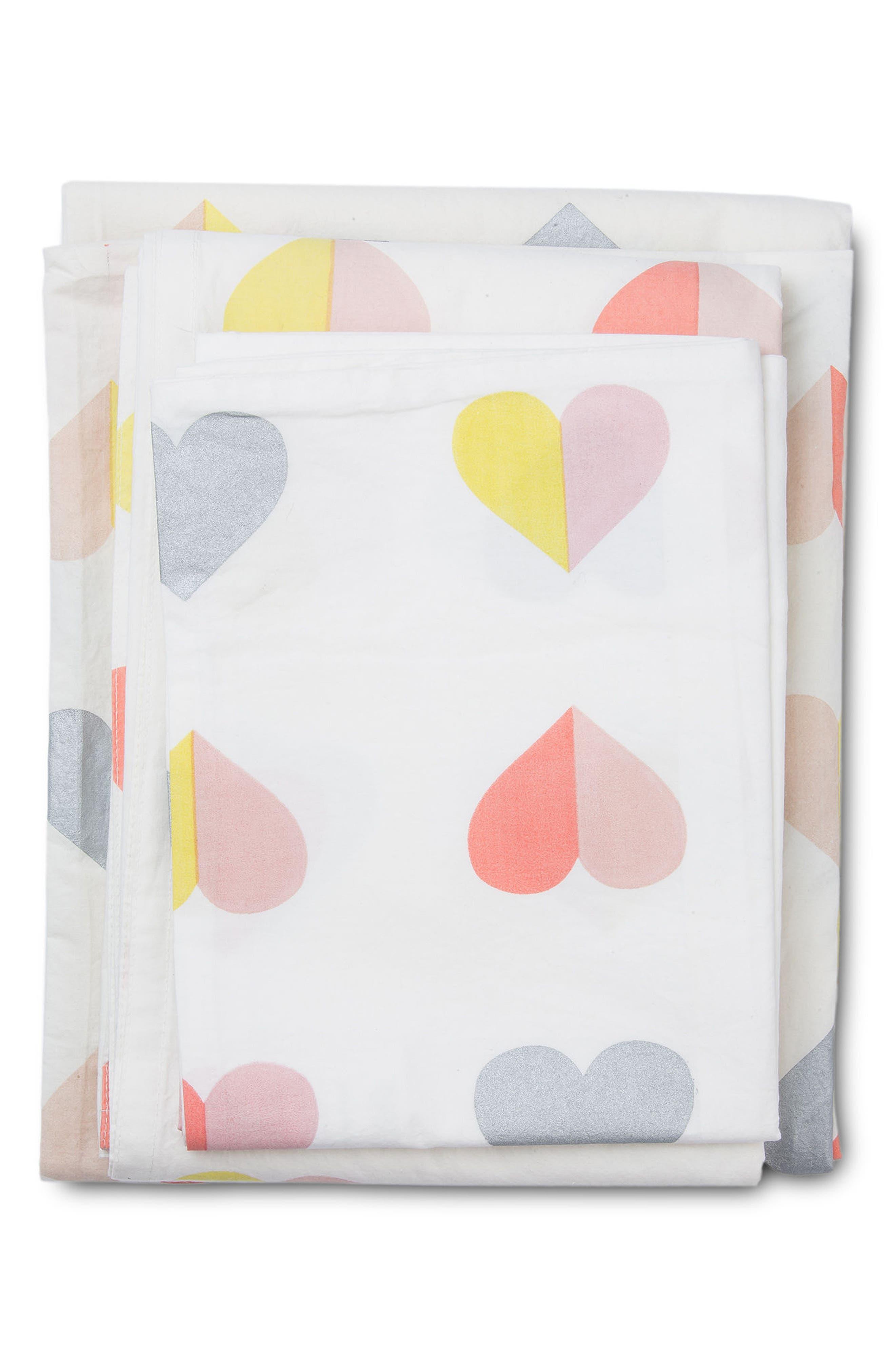 Hearts Twin Sheet & Pillowcase Set,                             Main thumbnail 1, color,                             Multi