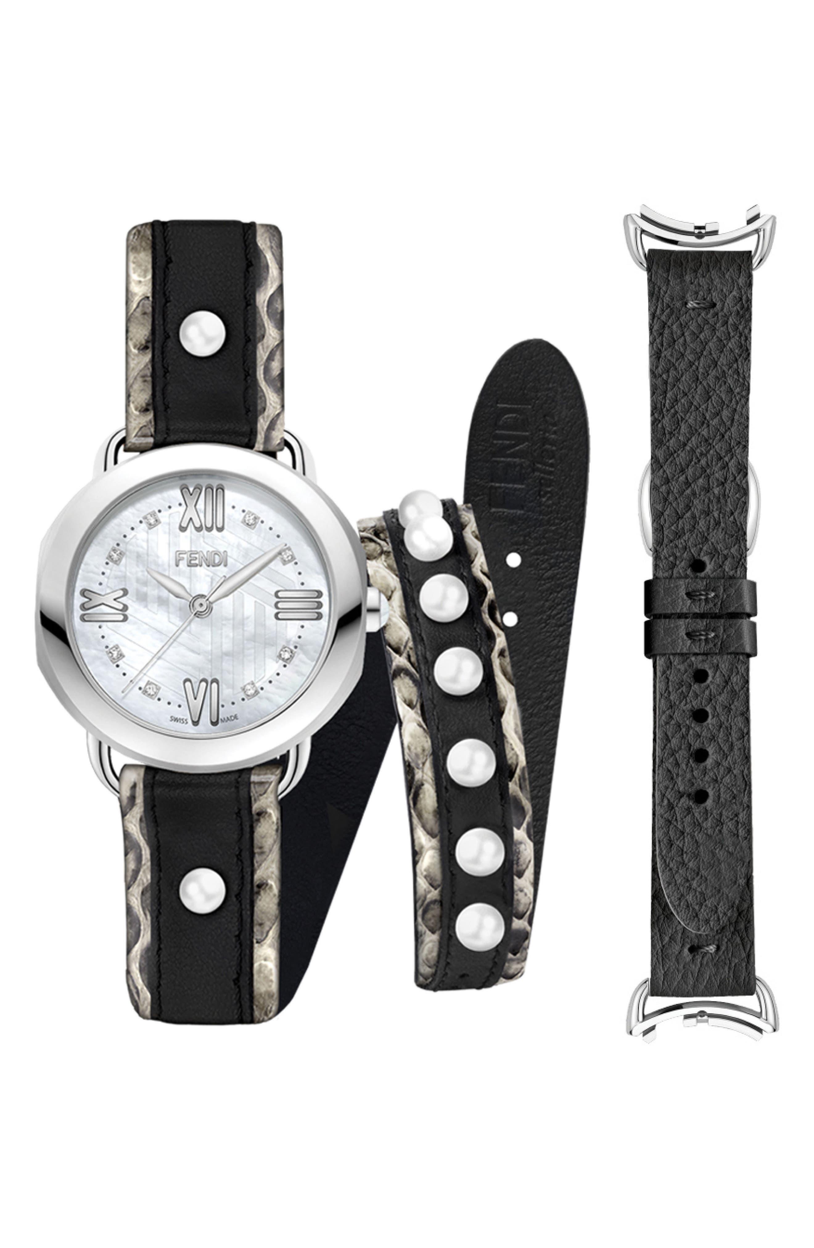 36Mm Selleria Watch Set W/ Diamonds in Silver/ Mop/ Silver