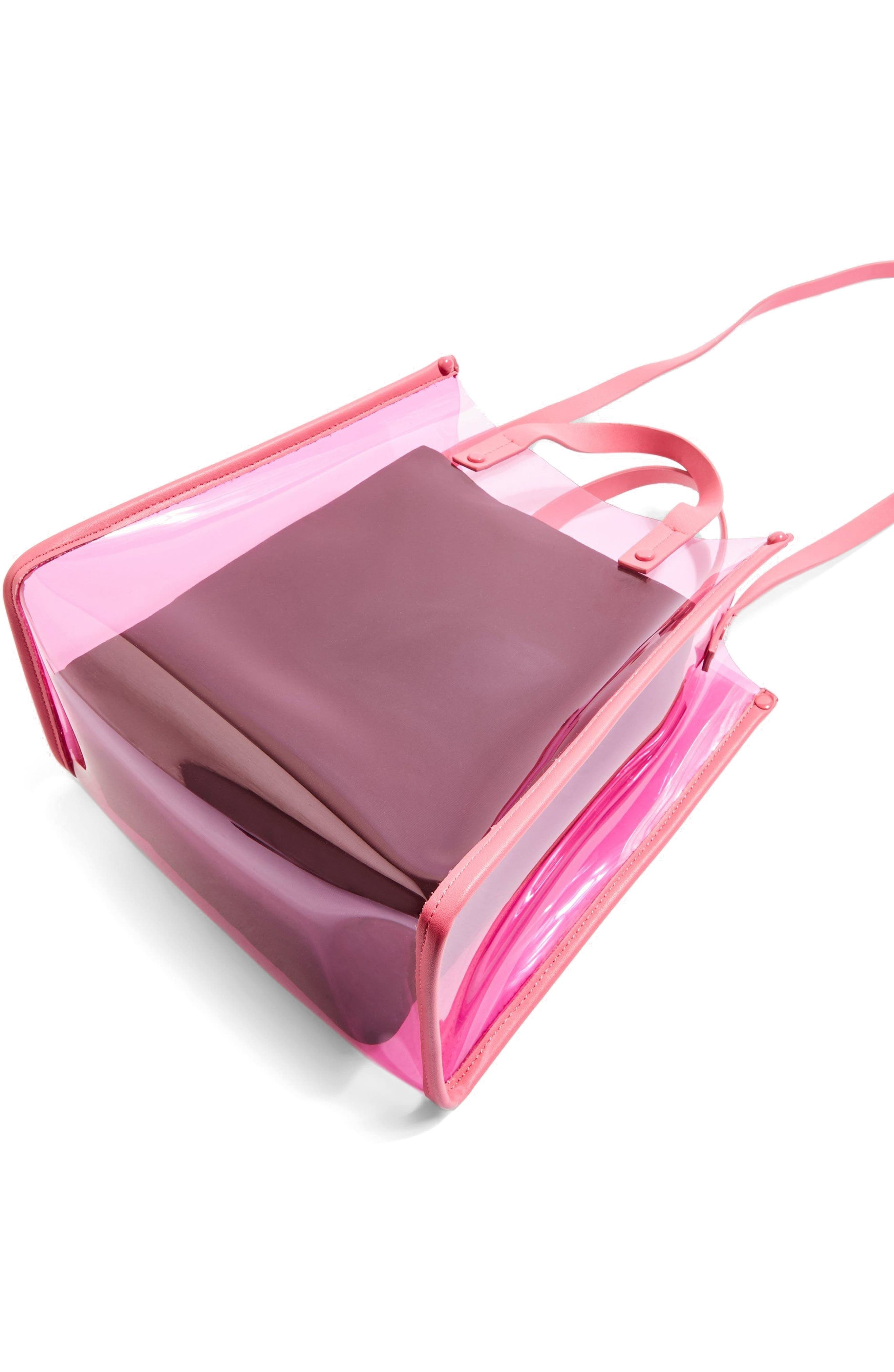 Penny Perspex Shopper Tote,                         Main,                         color, Pink