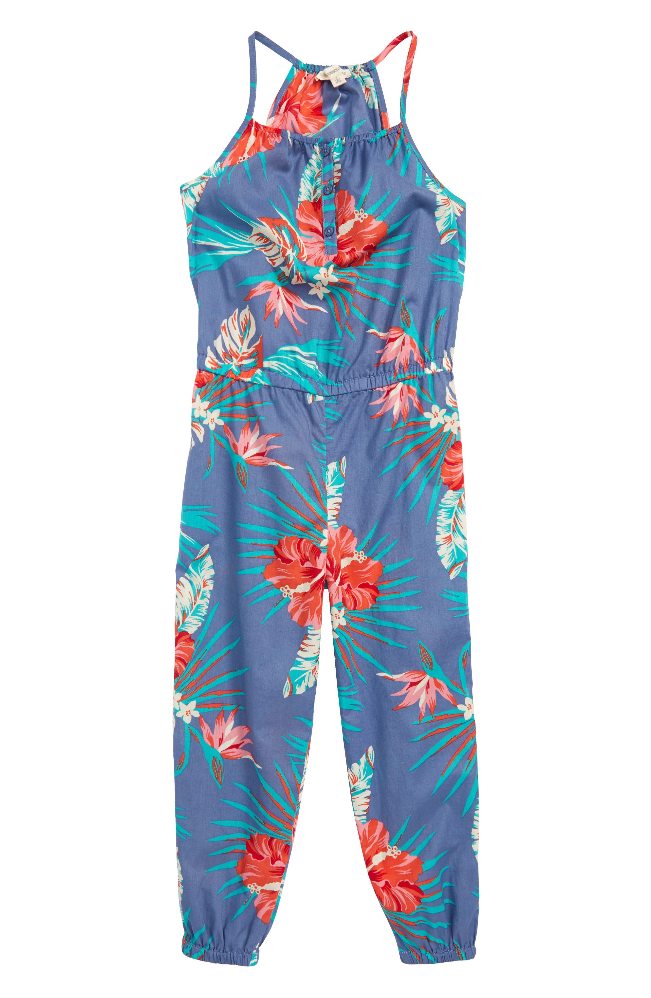 Woven Jumpsuit,                             Main thumbnail 1, color,                             Blue Stonewash Tropical Leaves